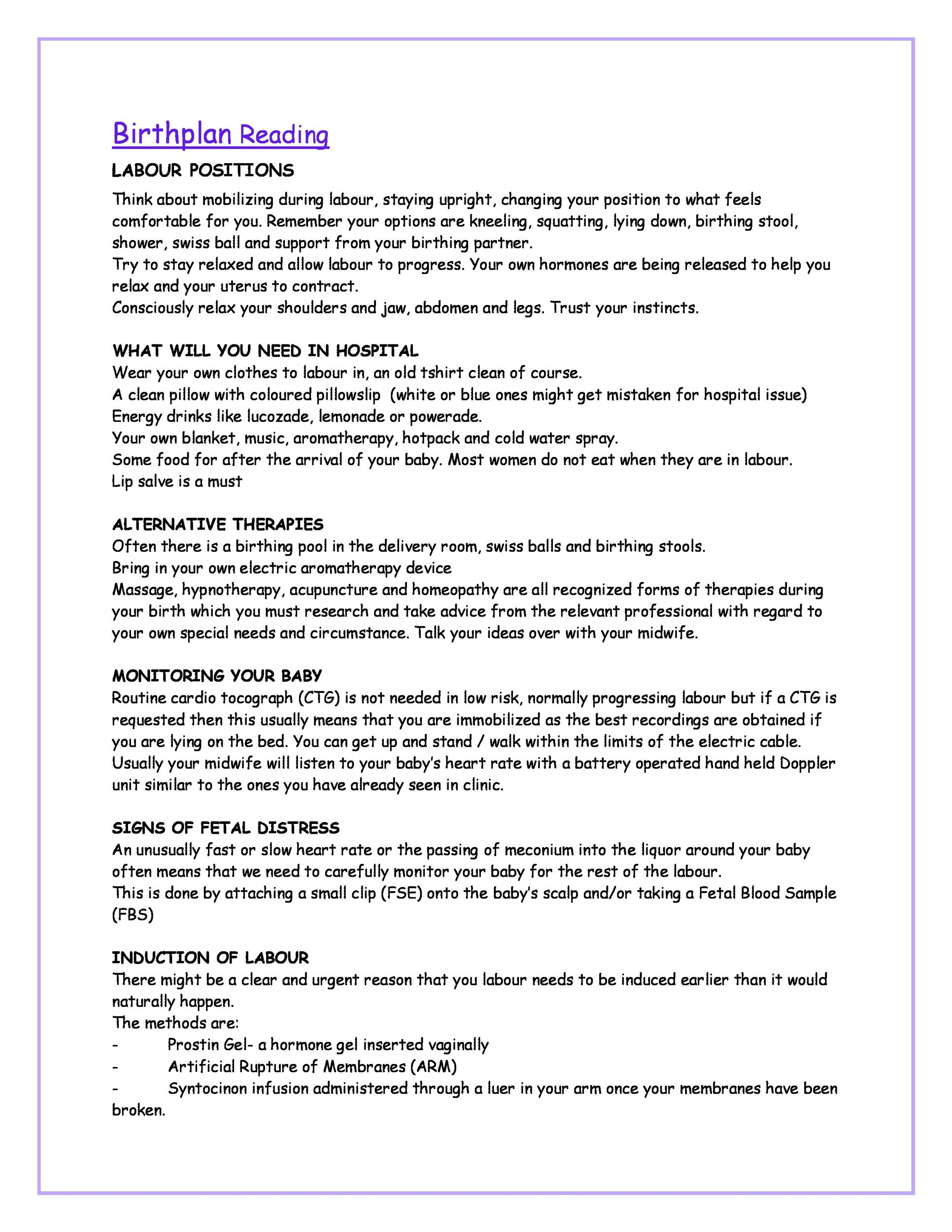 47+ Printable Birth Plan Templates Birth Plan Checklist ᐅ