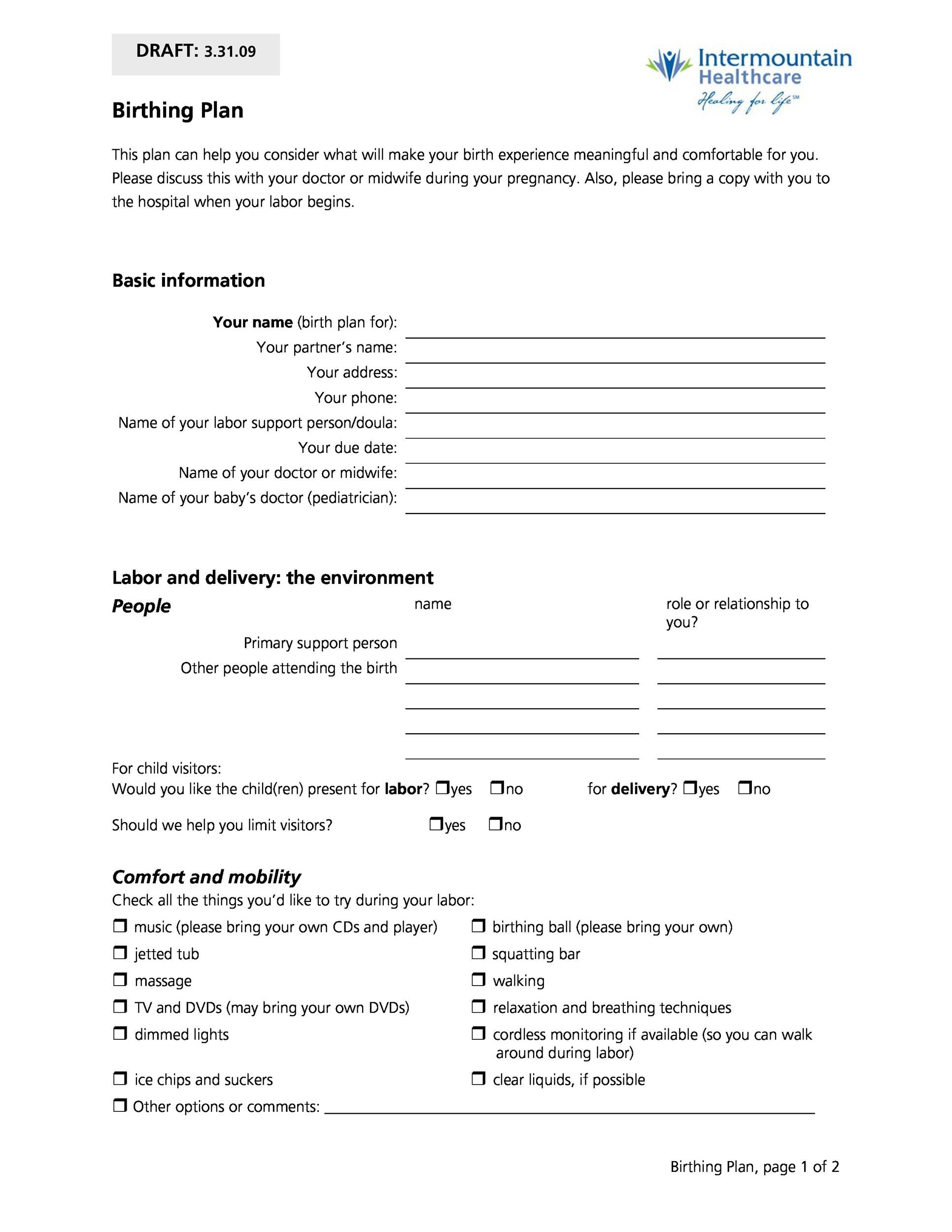 editable birth plan - Josemulinohouse - editable birth plan