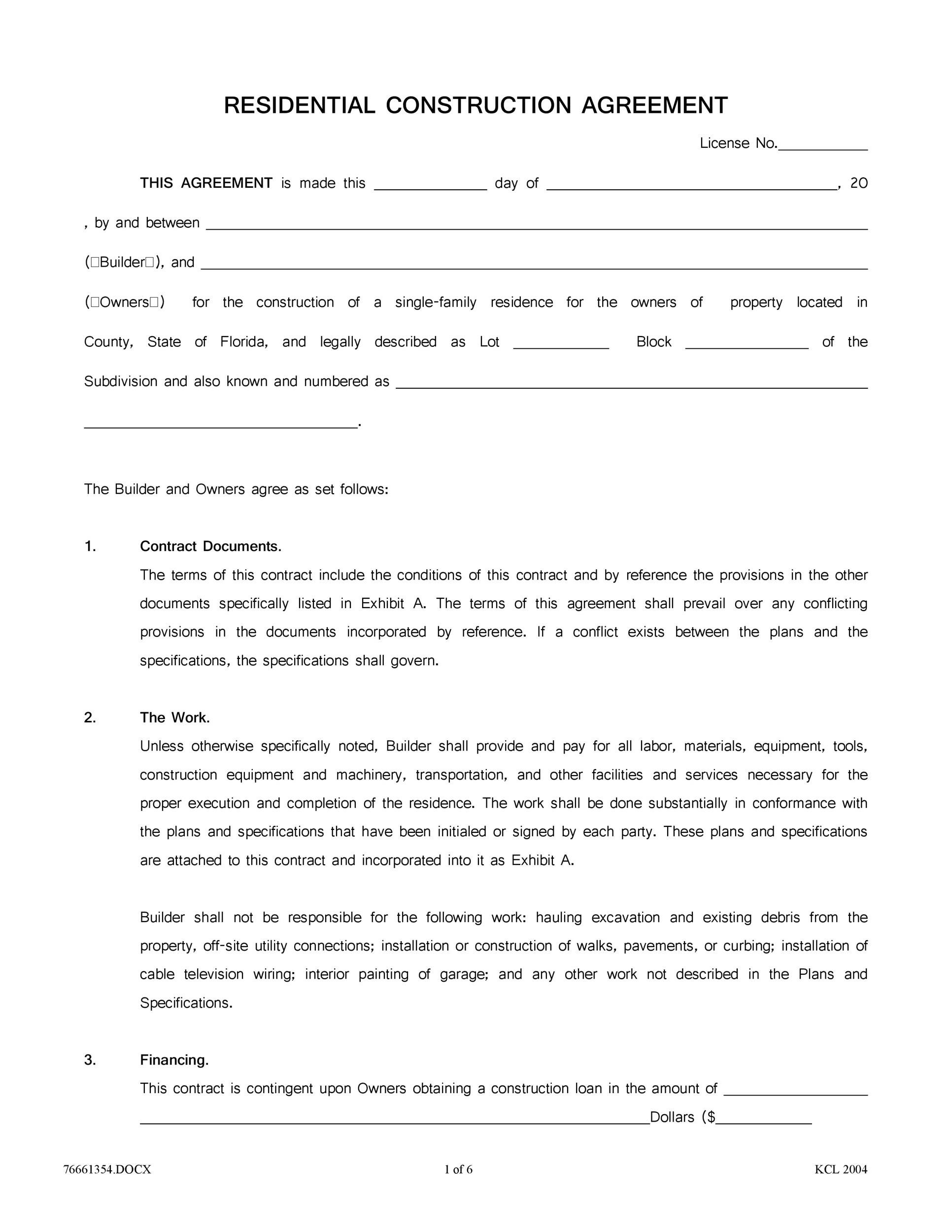 40 Great Contract Templates (Employment, Construction, Photography etc) - contract for construction work template