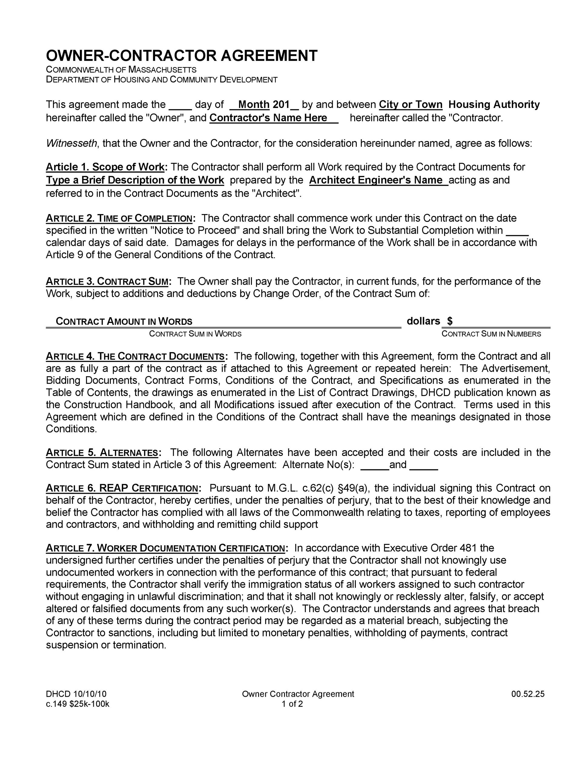 Commercial Construction Contract Template 6+ construction - job agreement contract