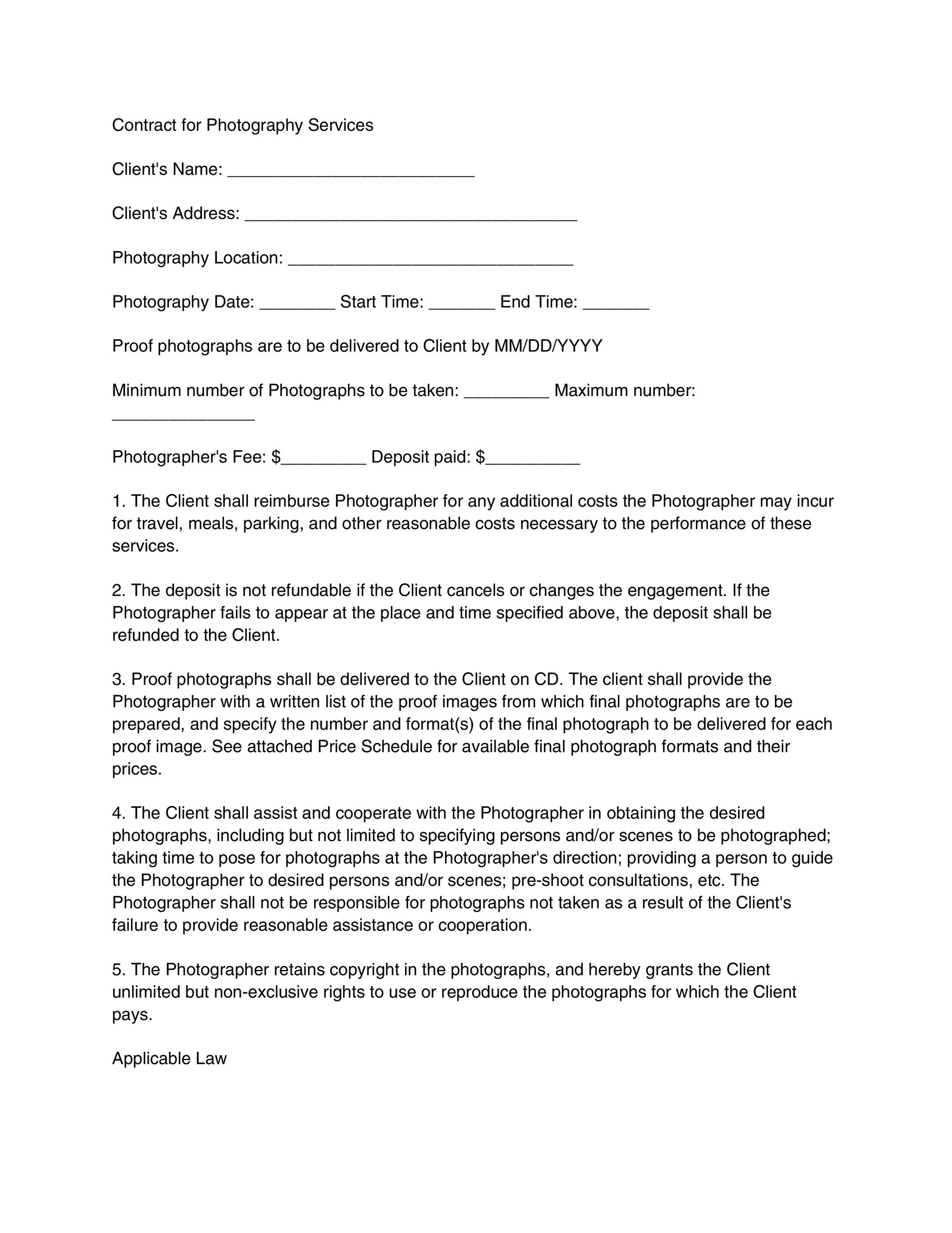 40 Great Contract Templates (Employment, Construction, Photography - photography services contract