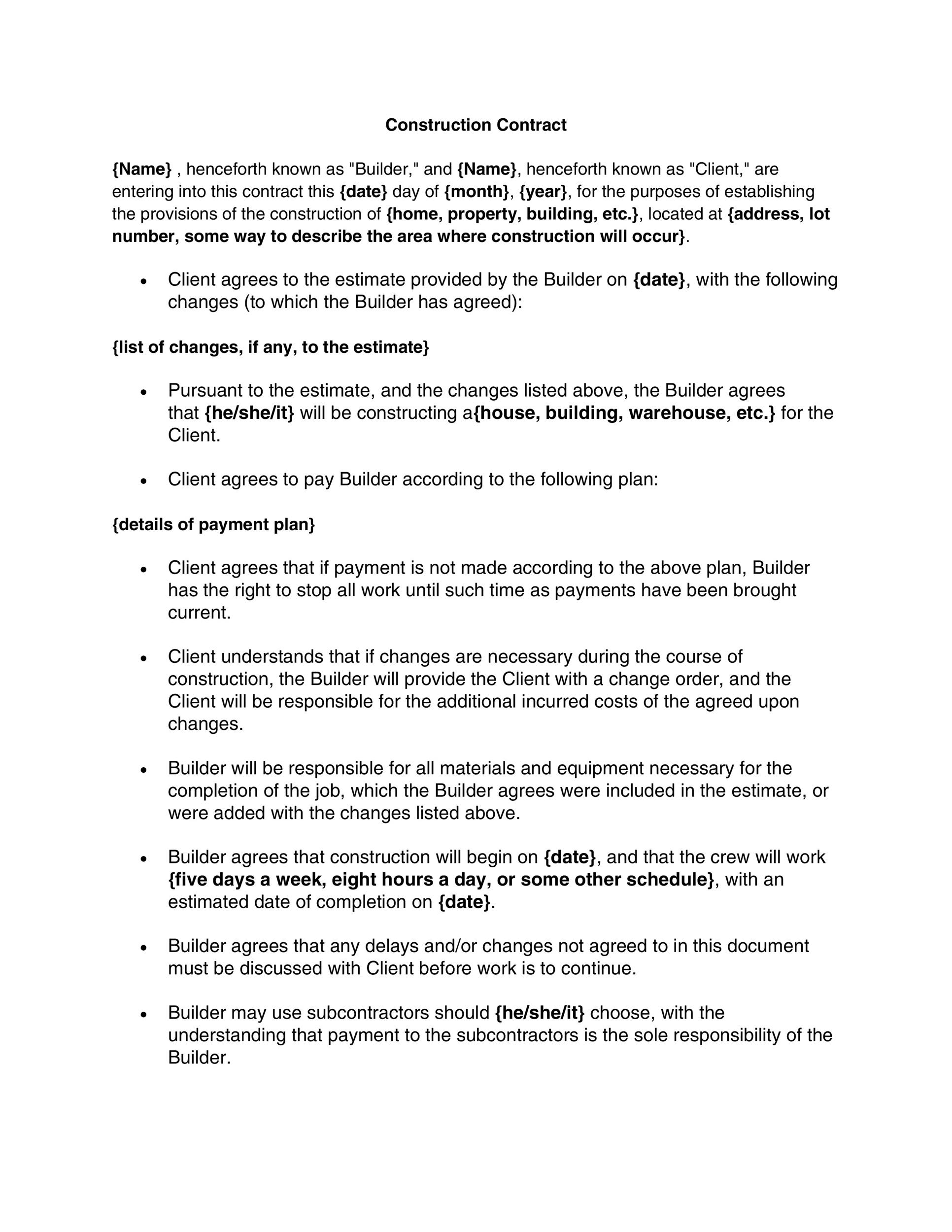 40 Great Contract Templates (Employment, Construction, Photography etc) - free construction contracts