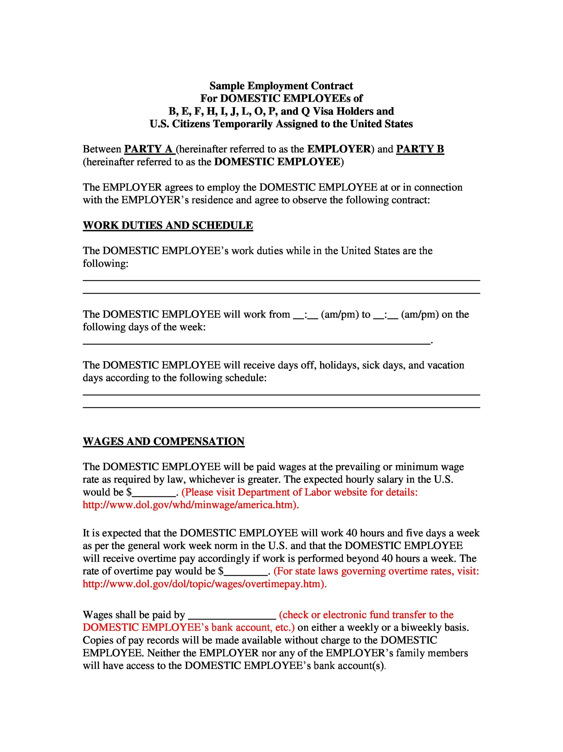 40 Great Contract Templates (Employment, Construction, Photography etc) - Work Contract Template