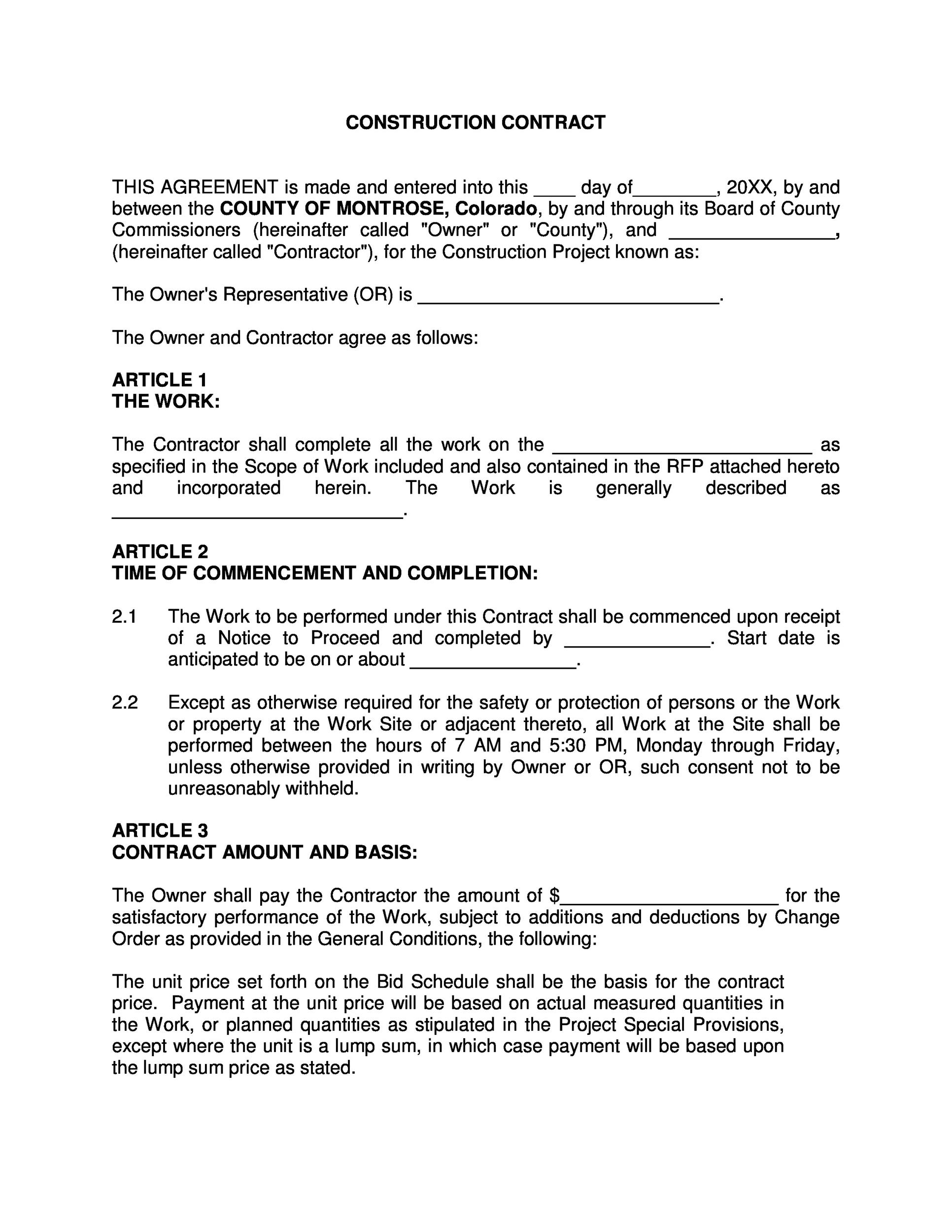 40 Great Contract Templates (Employment, Construction, Photography - free construction contracts