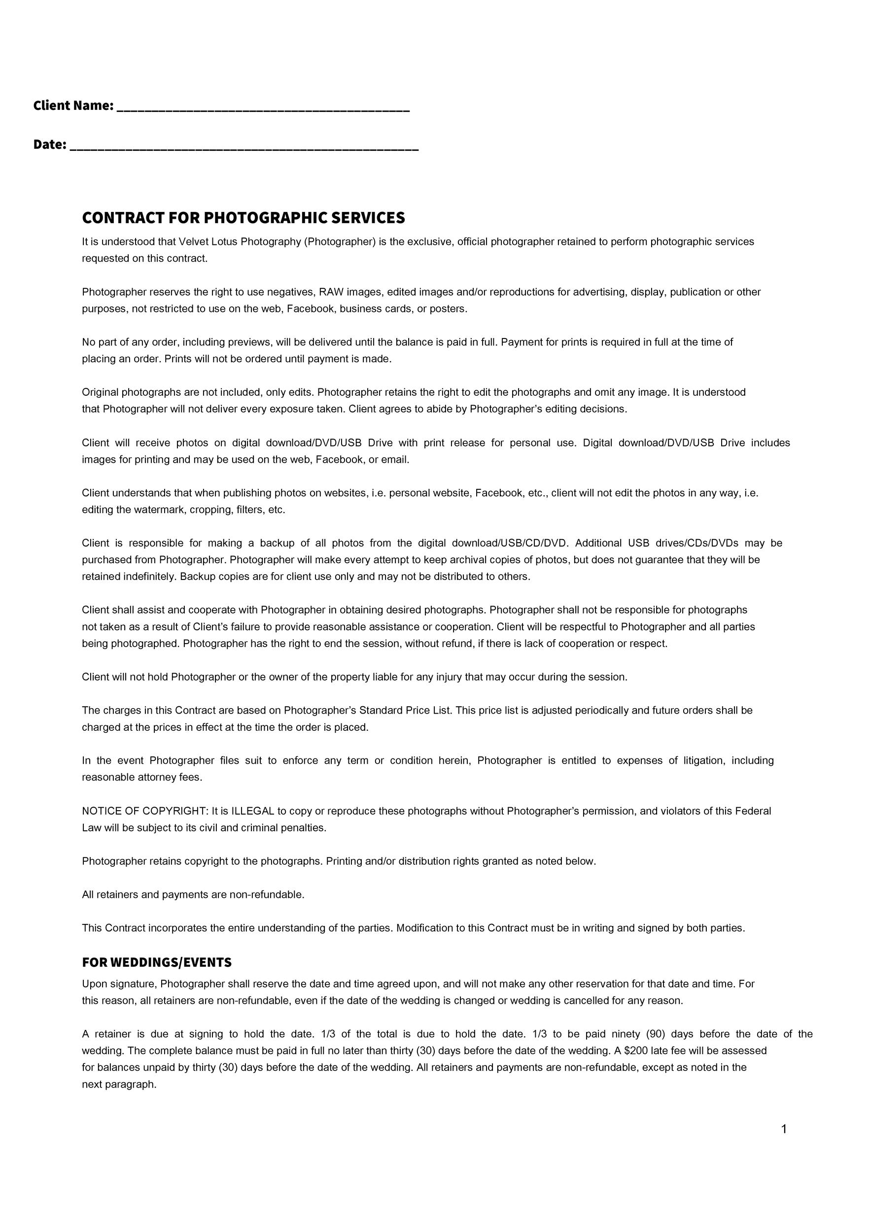 40 Great Contract Templates (Employment, Construction, Photography - liability contract template