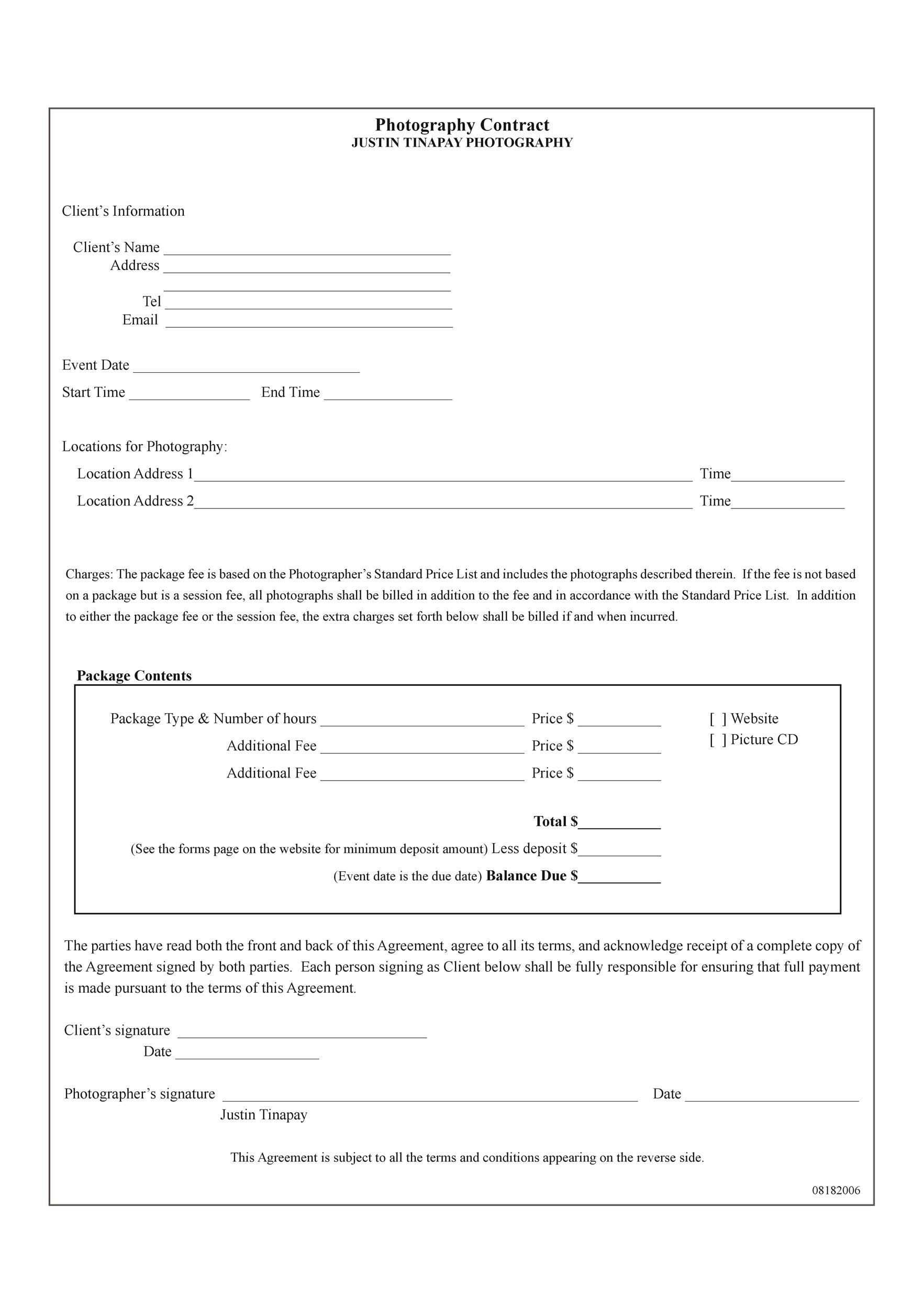 40 Great Contract Templates (Employment, Construction, Photography etc) - photography contract template
