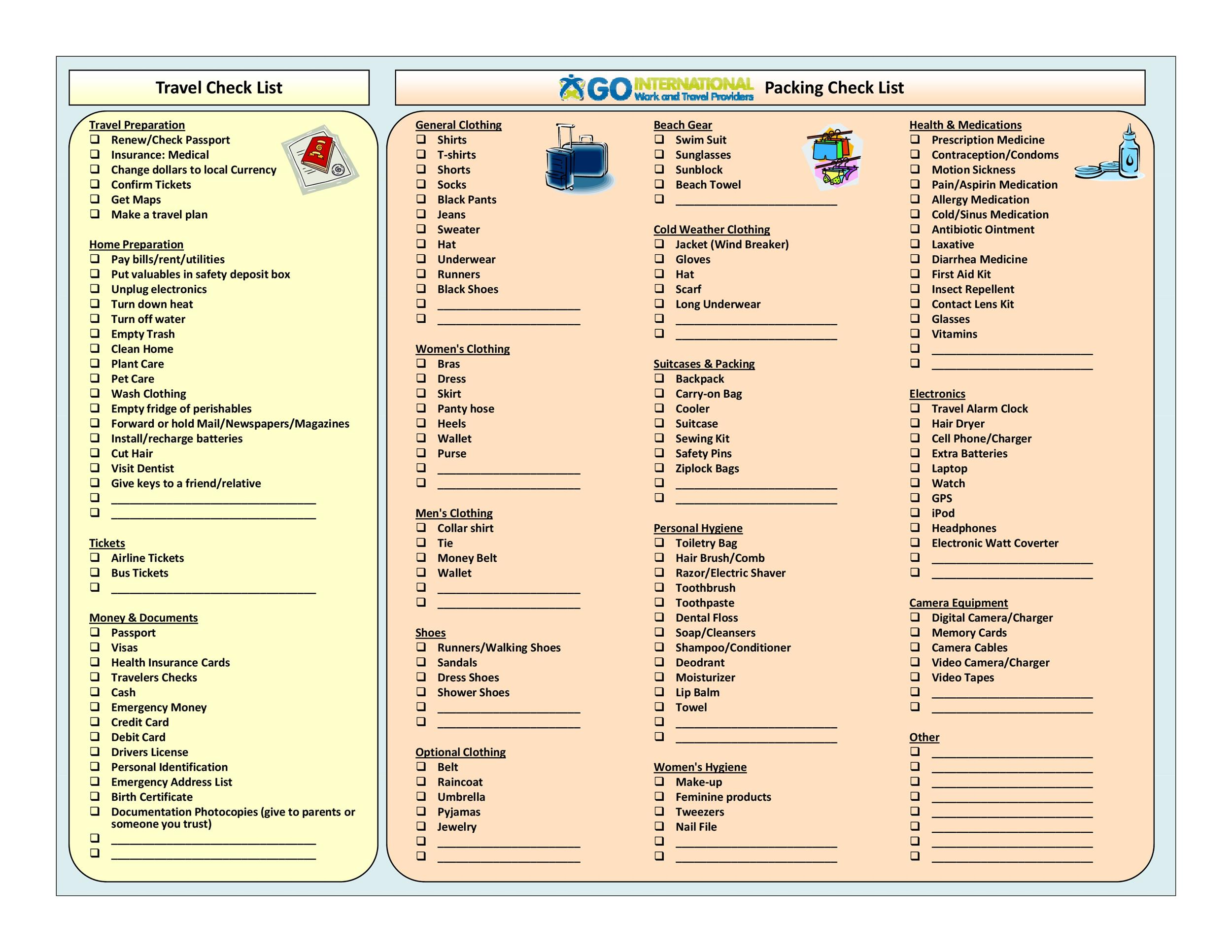 packing list template - muapet - Packing Template