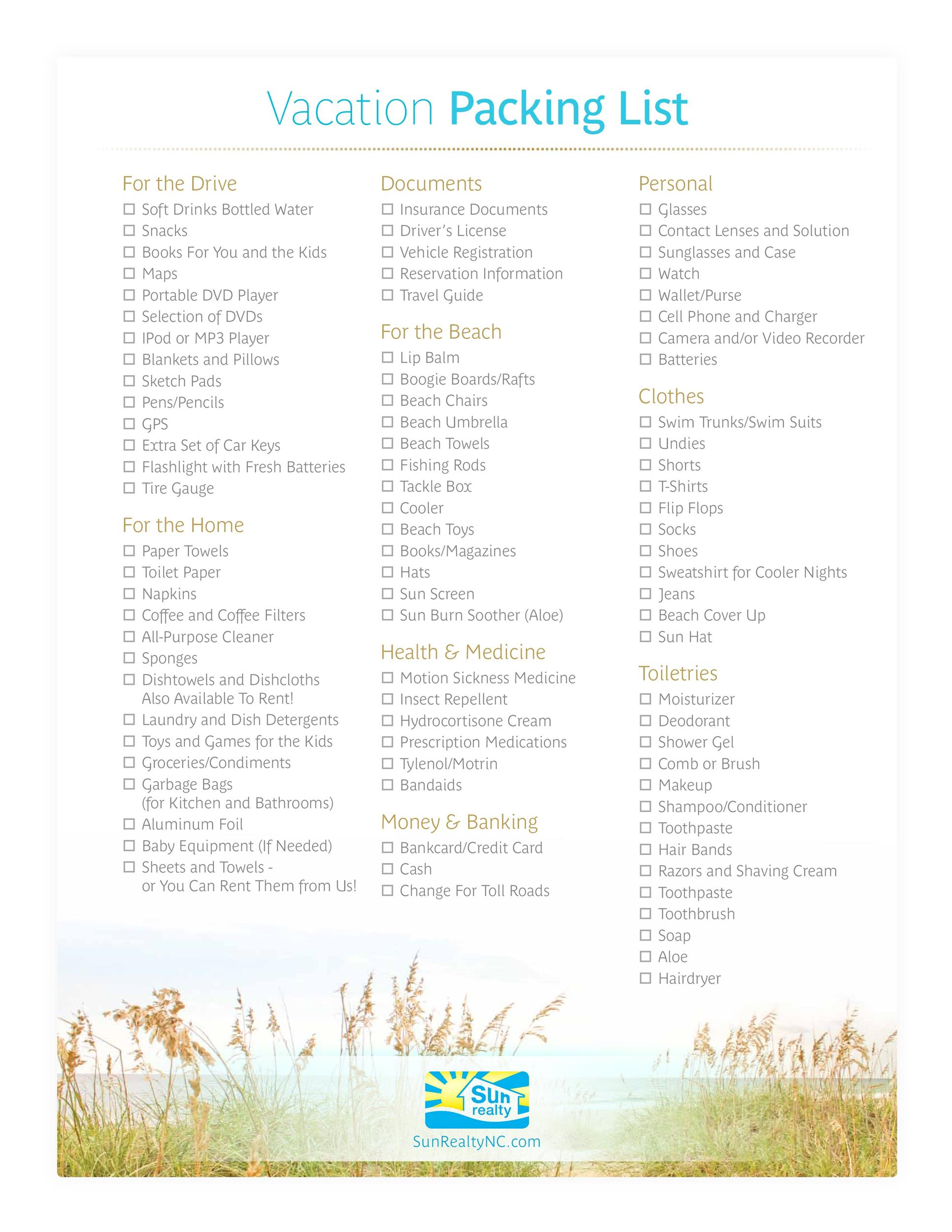 40+ Awesome Printable Packing Lists! (College, Cruise, Camping etc) - Vacation Packing List Printable