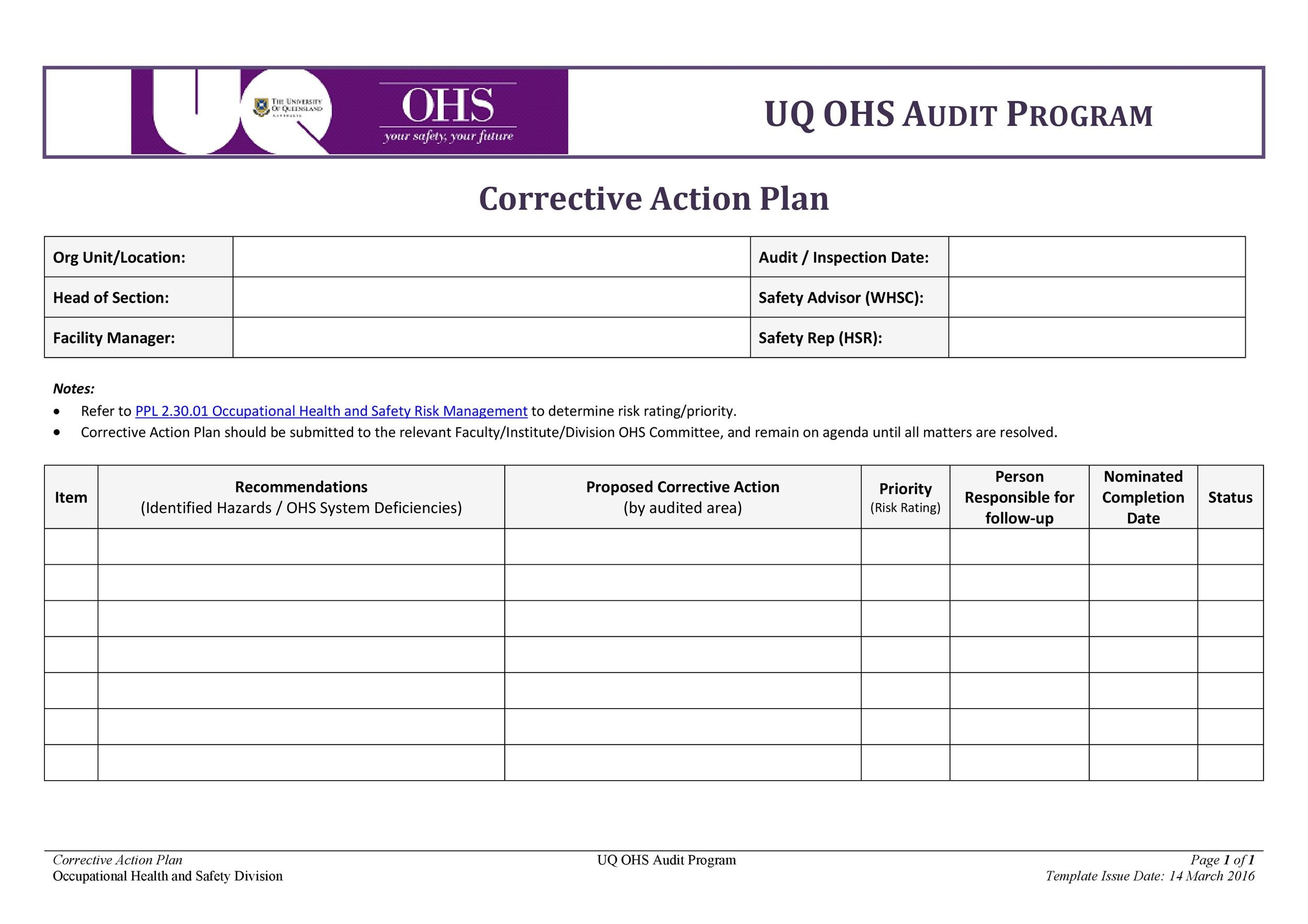 45 Free Action Plan Templates (Corrective, Emergency, Business)