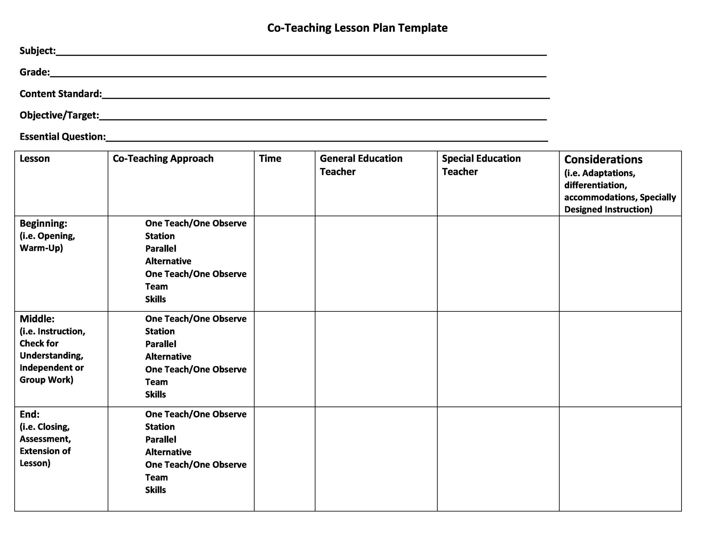 44 FREE Lesson Plan Templates Common Core, Preschool, Weekly - lesson plan outline