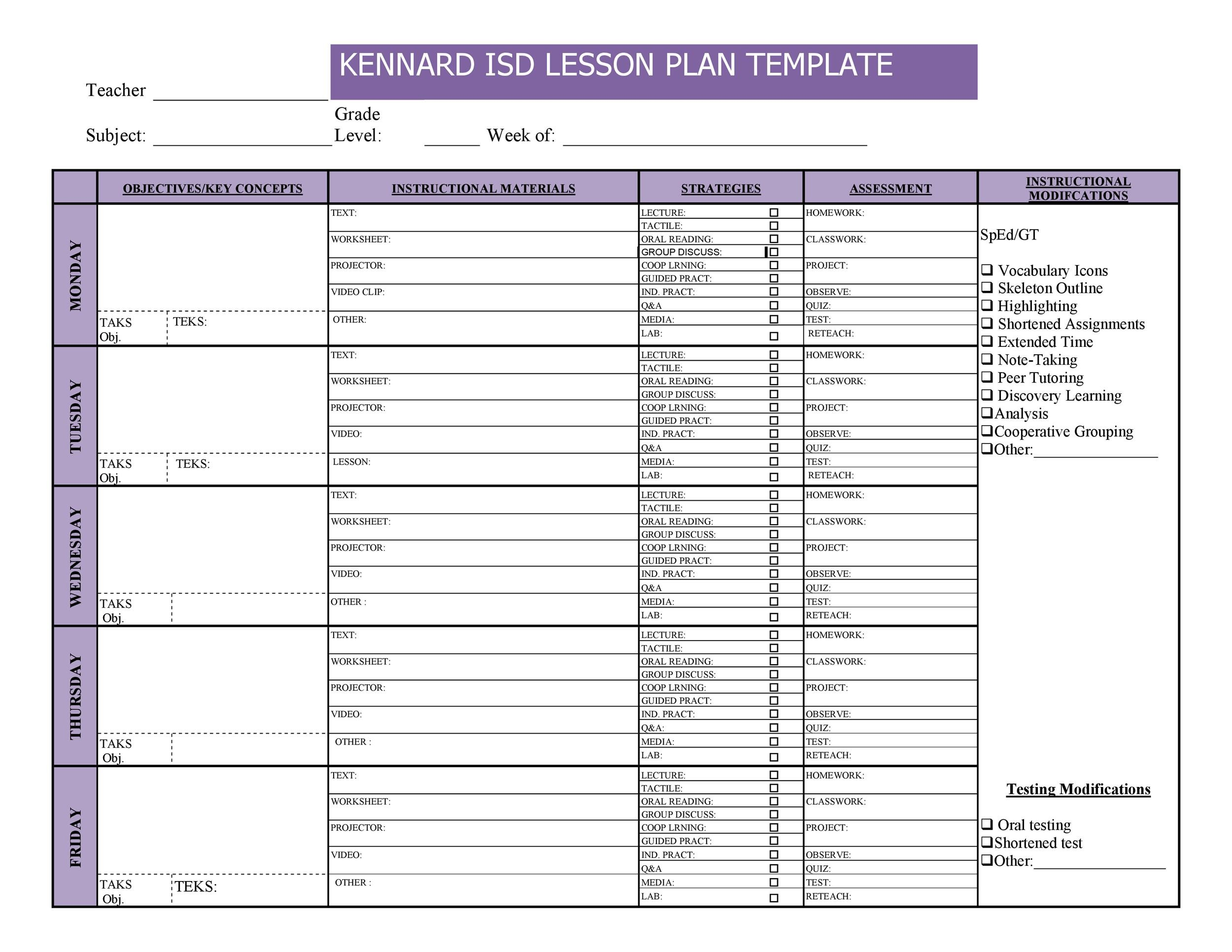 44 FREE Lesson Plan Templates Common Core, Preschool, Weekly - free weekly lesson plan templates