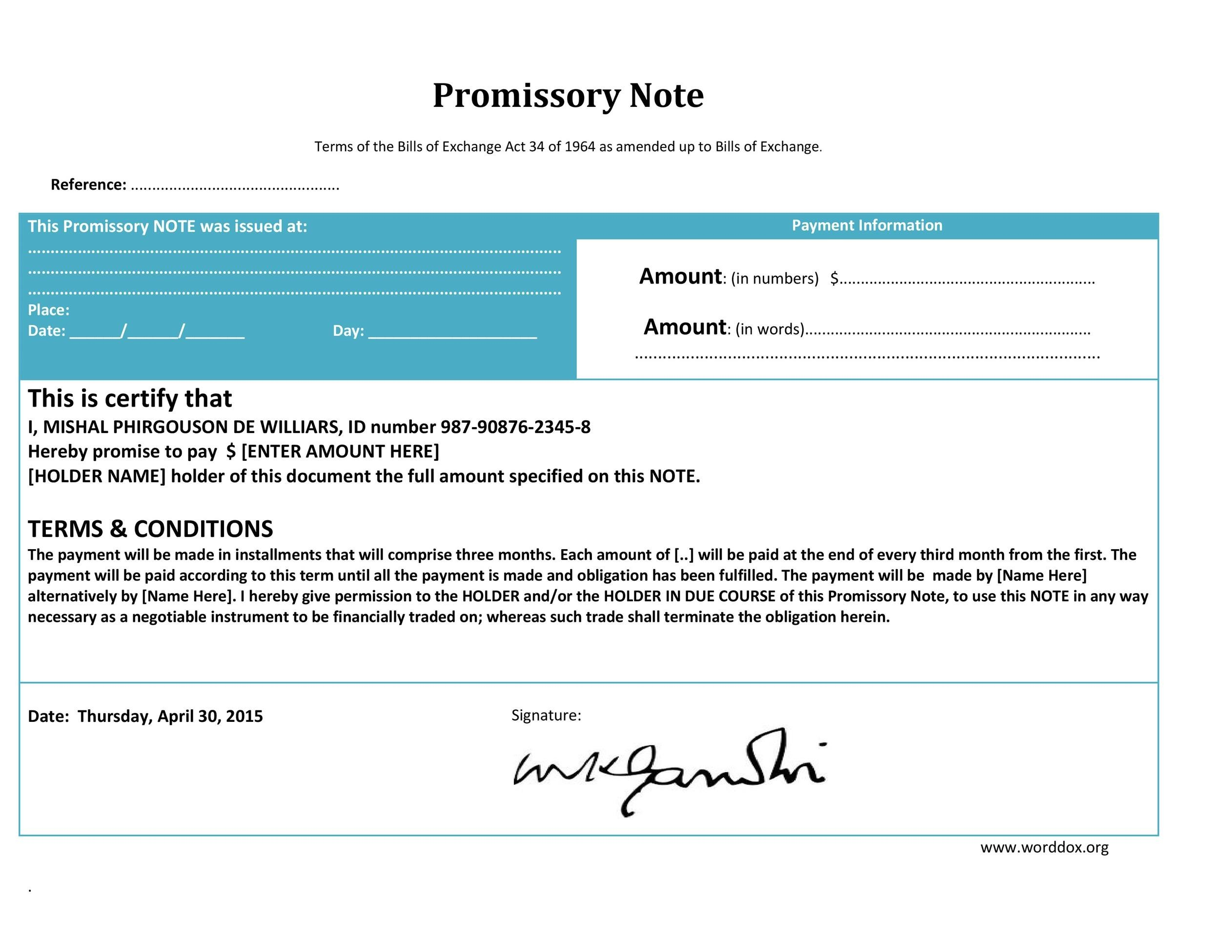 45 FREE Promissory Note Templates  Forms Word  PDF ᐅ Template Lab