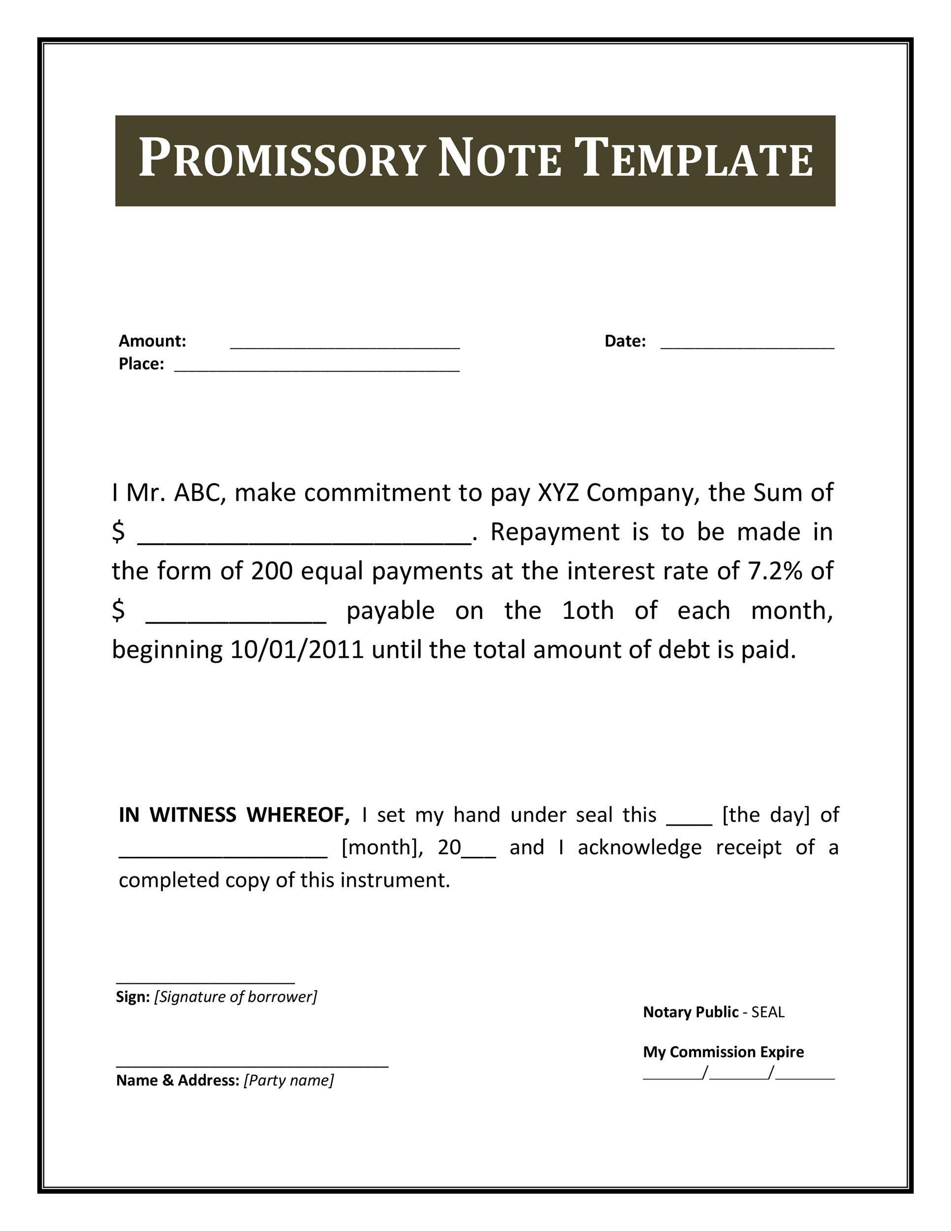 Simple promissory note template 1549384 metabo01info