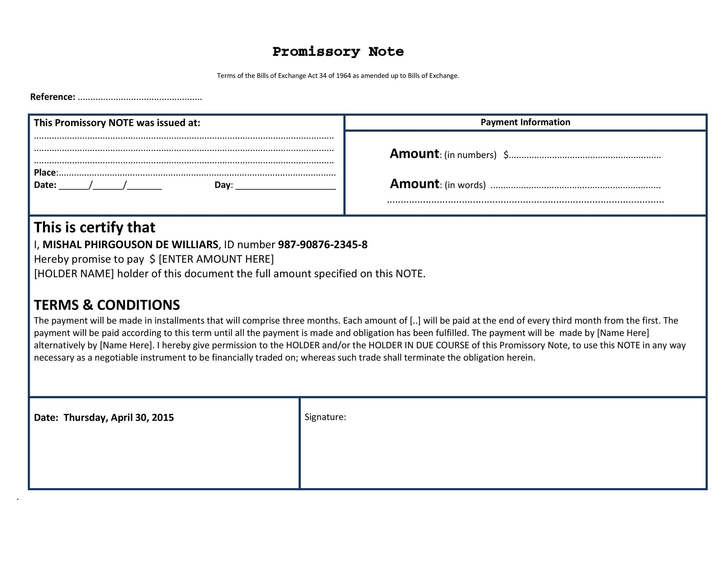45 FREE Promissory Note Templates  Forms Word  PDF - Template Lab - promisory note sample