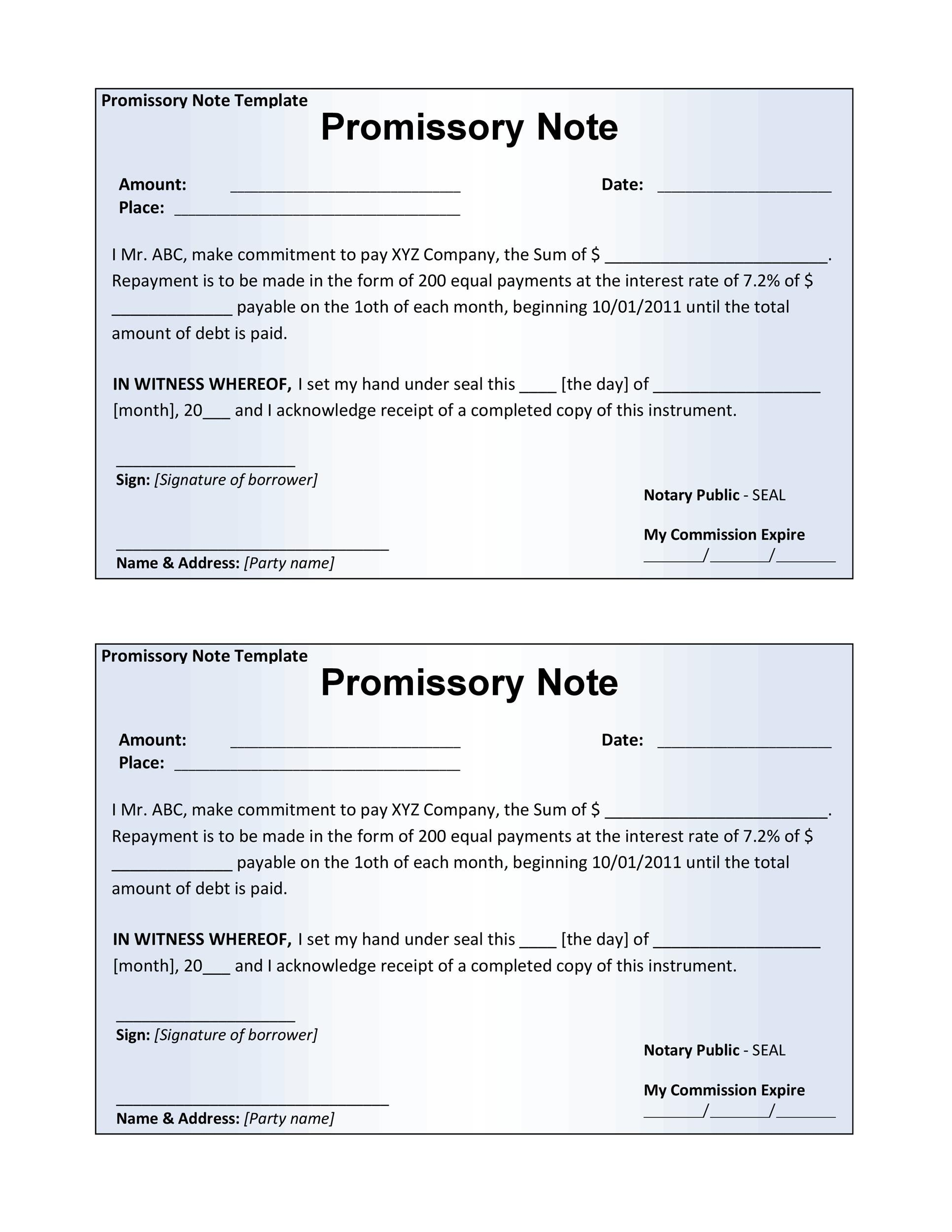 Promissory Note Template Pdf – Free Promissory Note Template Word