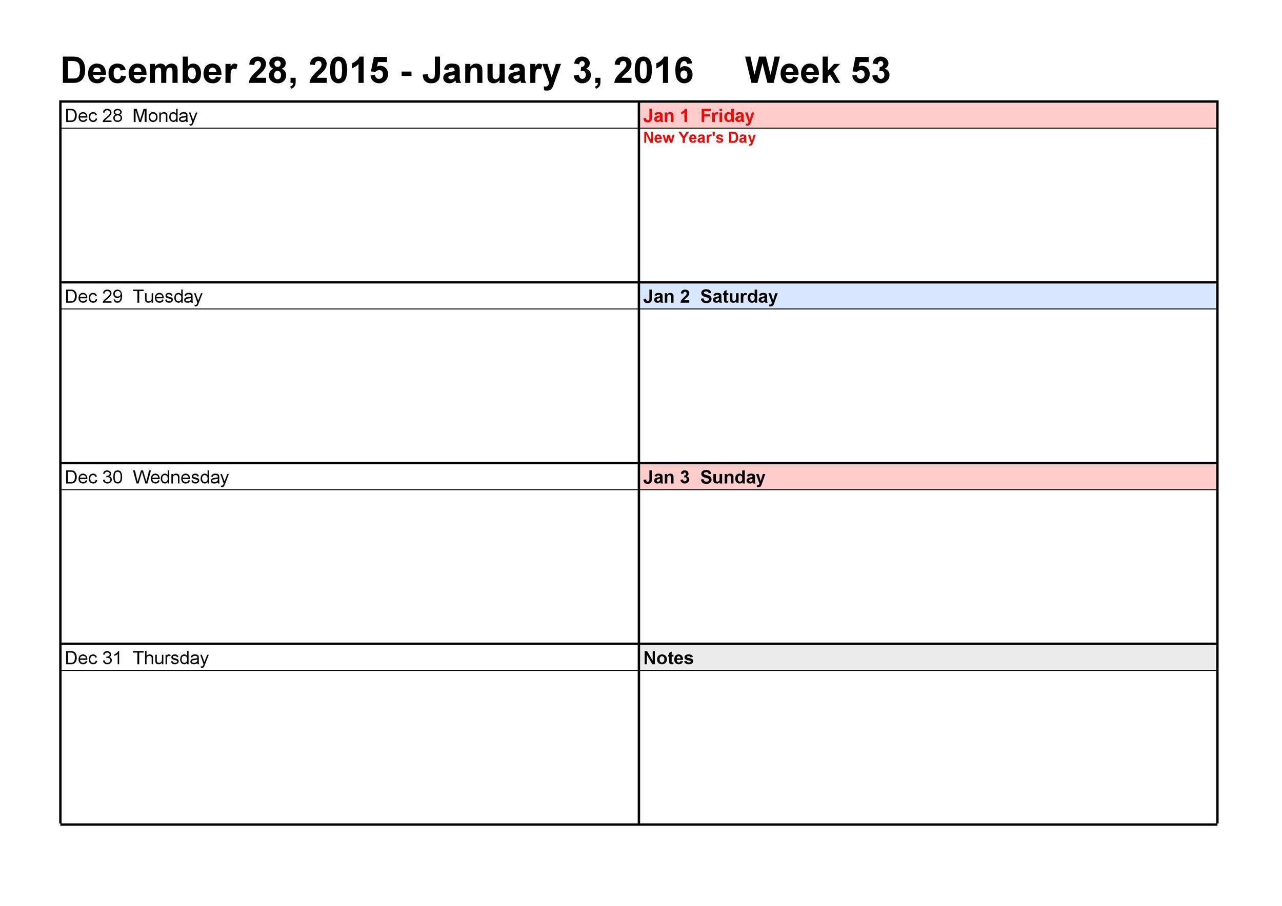 26 Blank Weekly Calendar Templates PDF, Excel, Word - Template Lab - weekly printable calendars