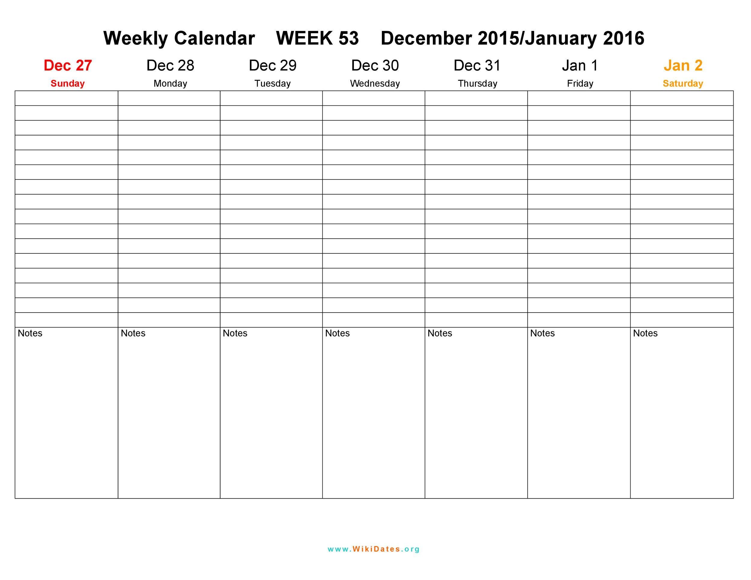 26 Blank Weekly Calendar Templates PDF, Excel, Word ᐅ Template Lab
