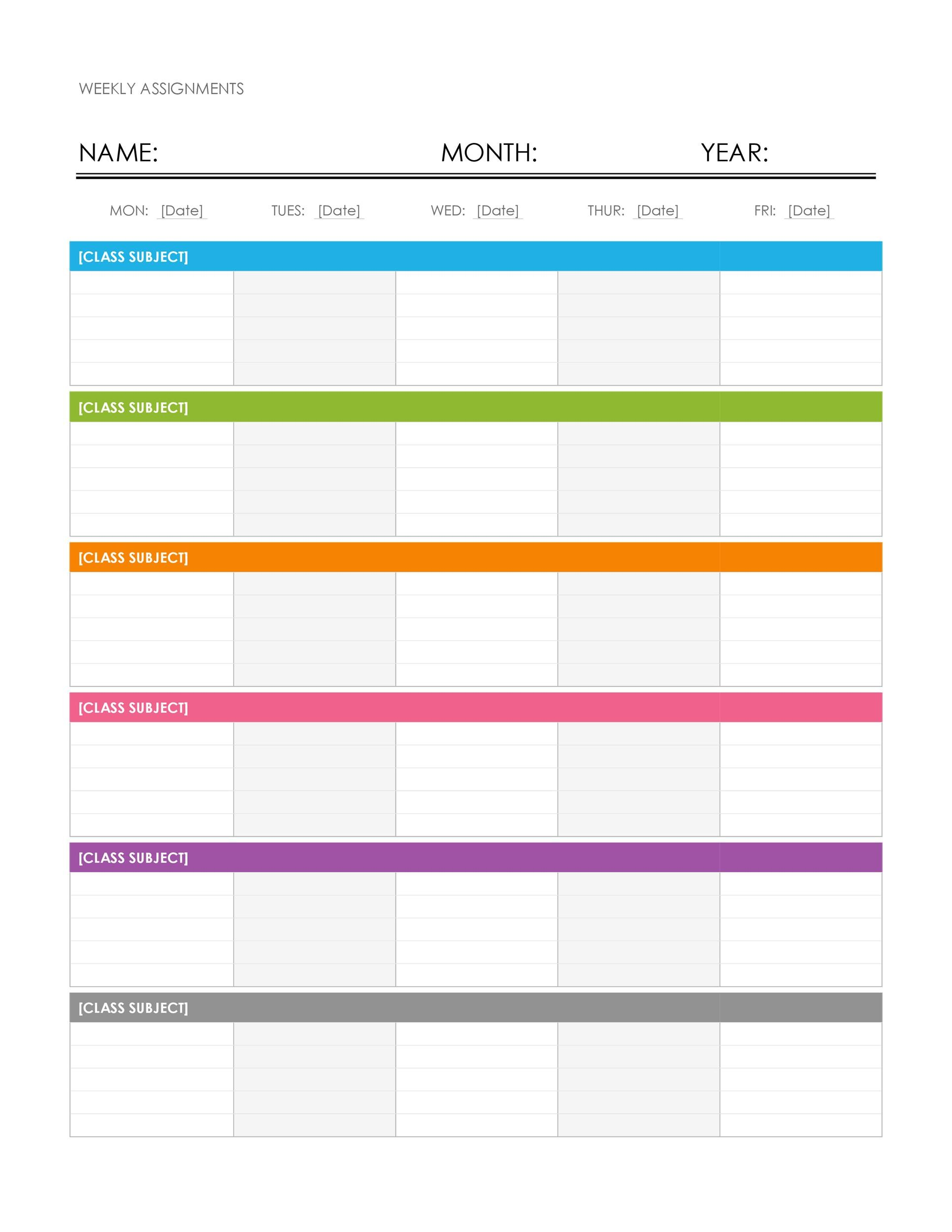 weekly timetable templates - Canasbergdorfbib