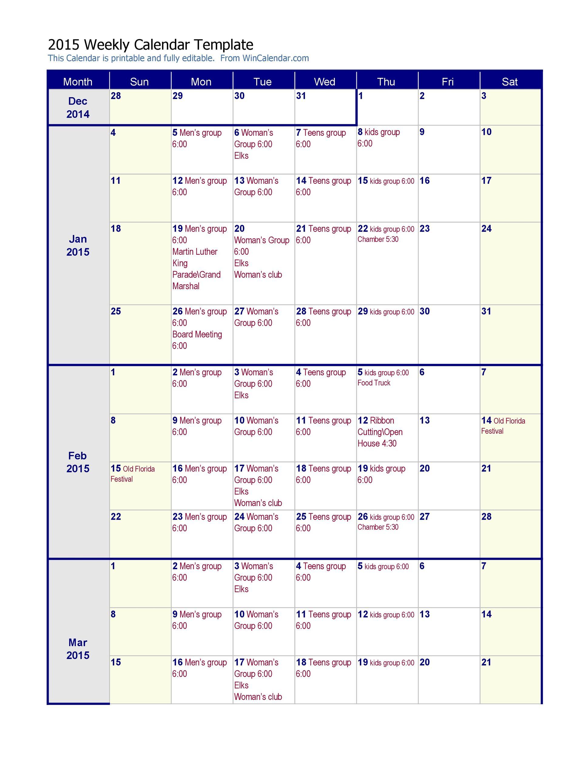 26 Blank Weekly Calendar Templates PDF, Excel, Word - Template Lab - kids calendar template
