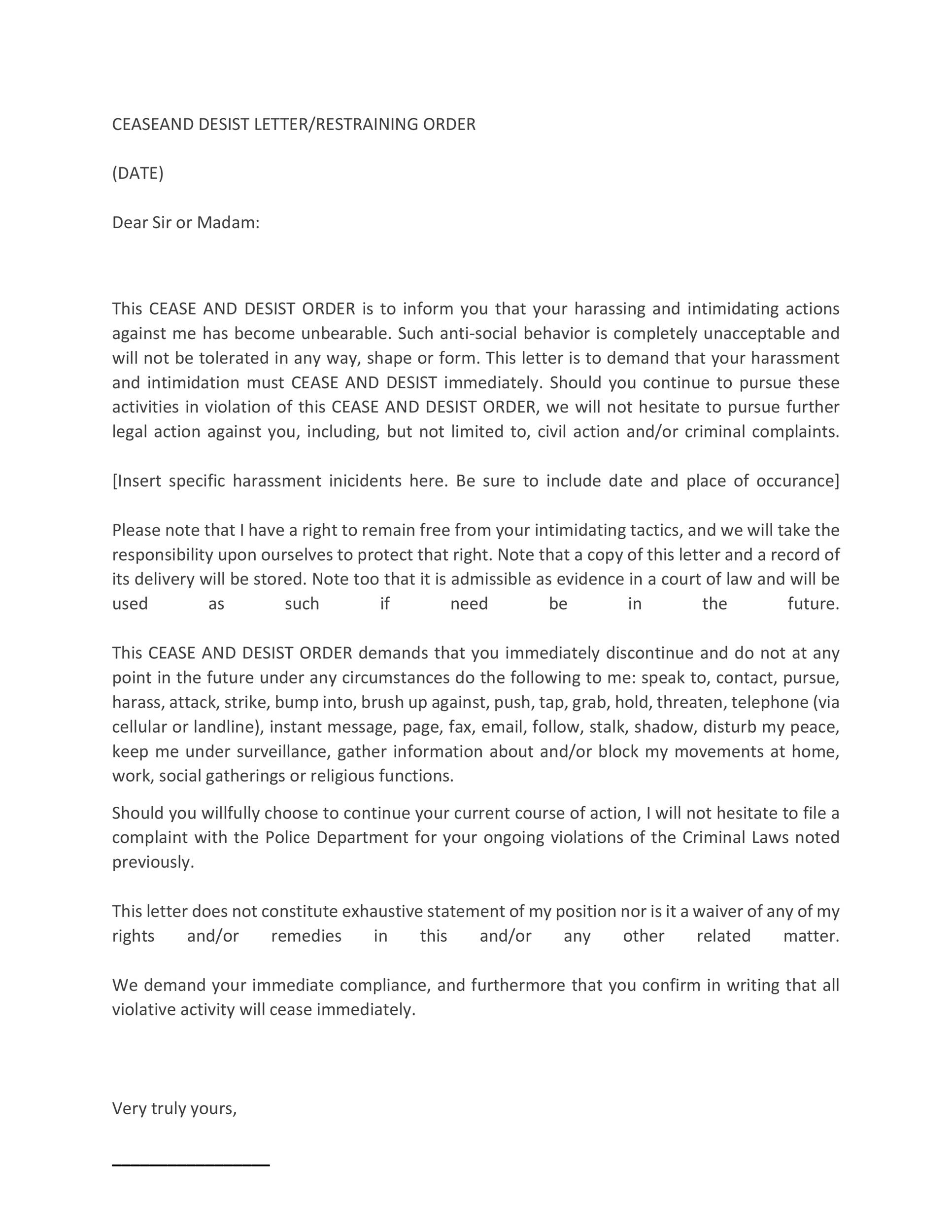 30+ Cease and Desist Letter Templates FREE ᐅ Template Lab