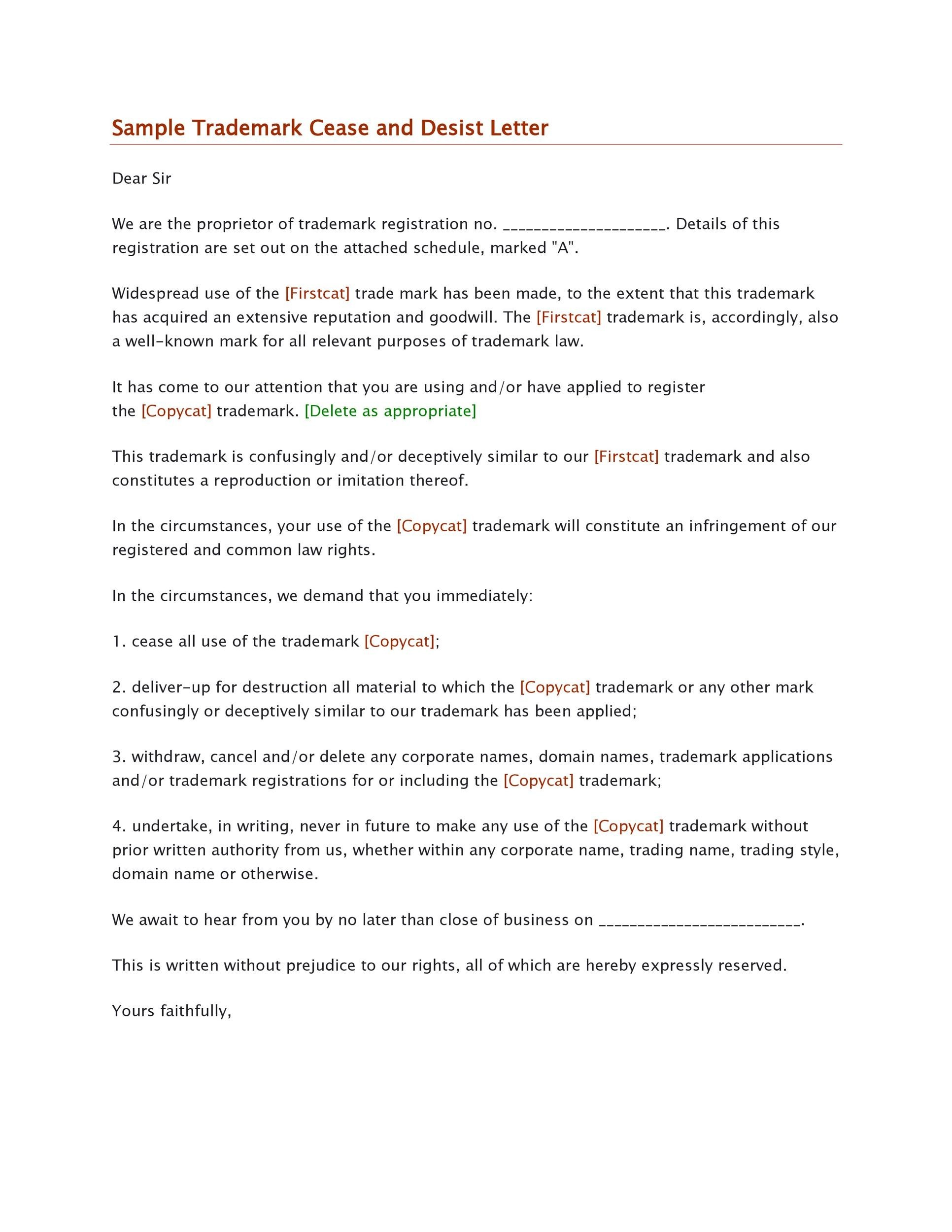 30+ Cease and Desist Letter Templates FREE - Template Lab - cease and desist sample letter