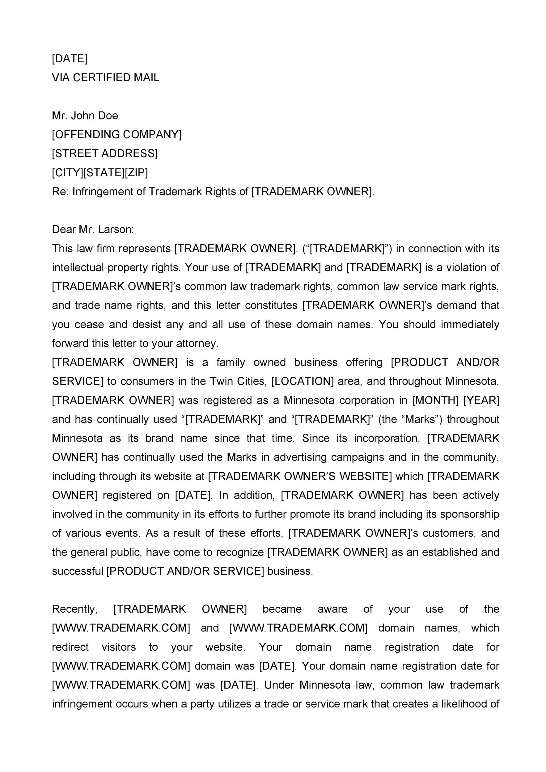 cease and desist template trademark - 28 images - cease and desist - cease and desist template