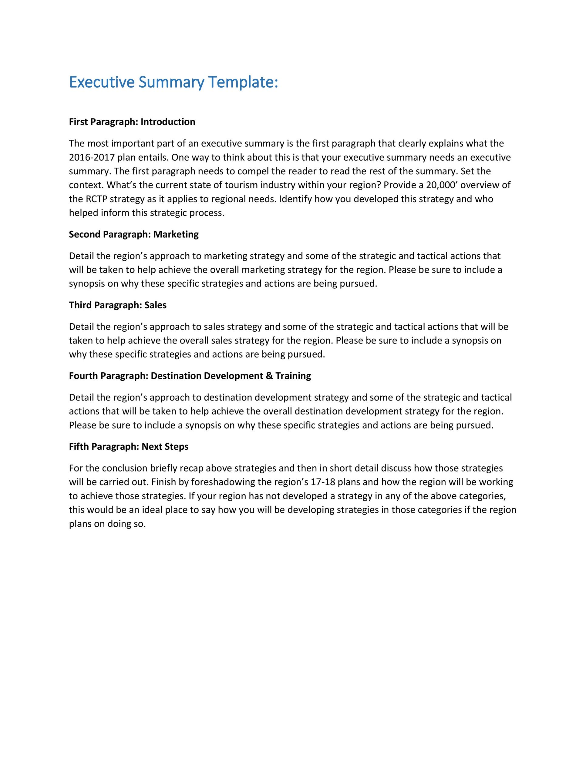 executive summary template word – Sample Chapter Summary Template