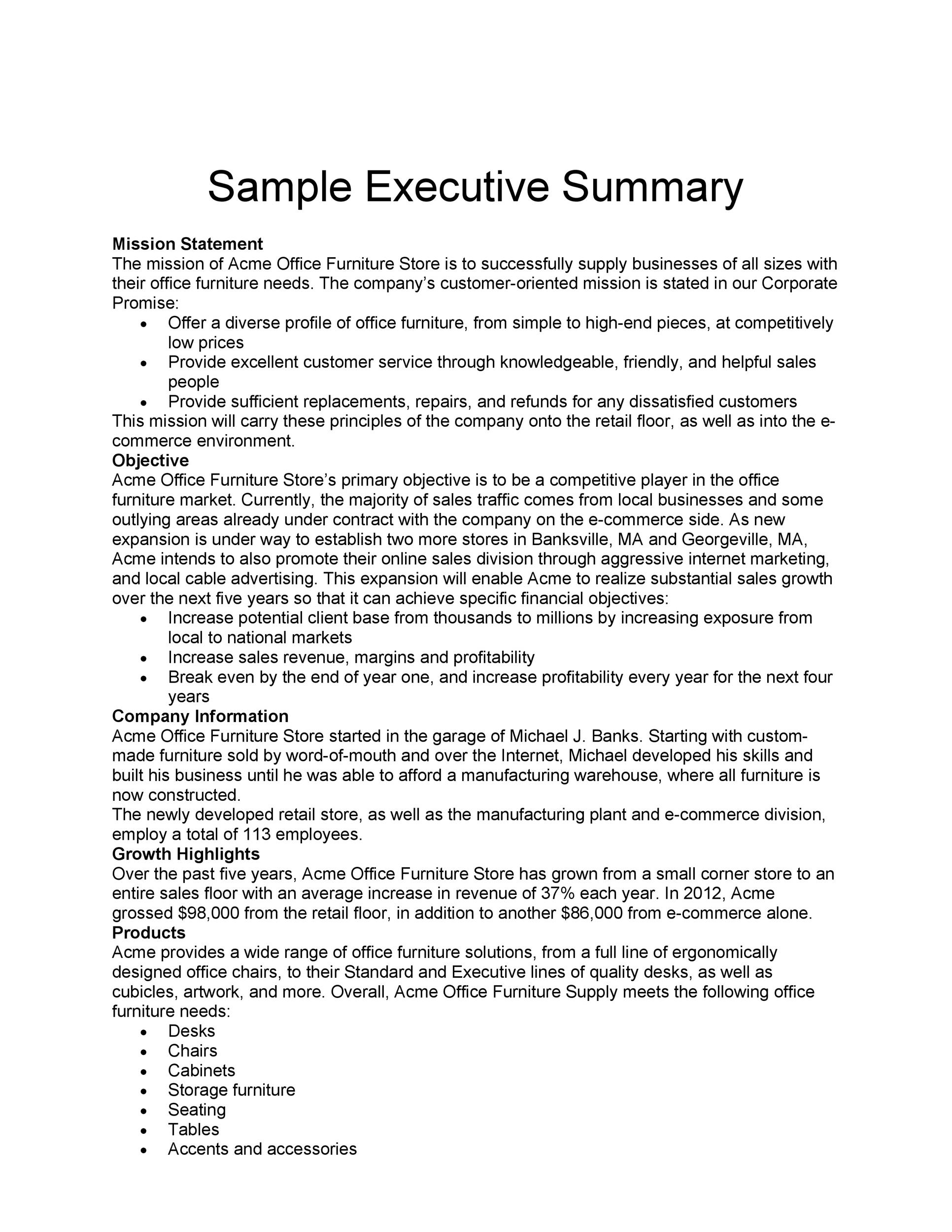 30+ Perfect Executive Summary Examples  Templates - Template Lab