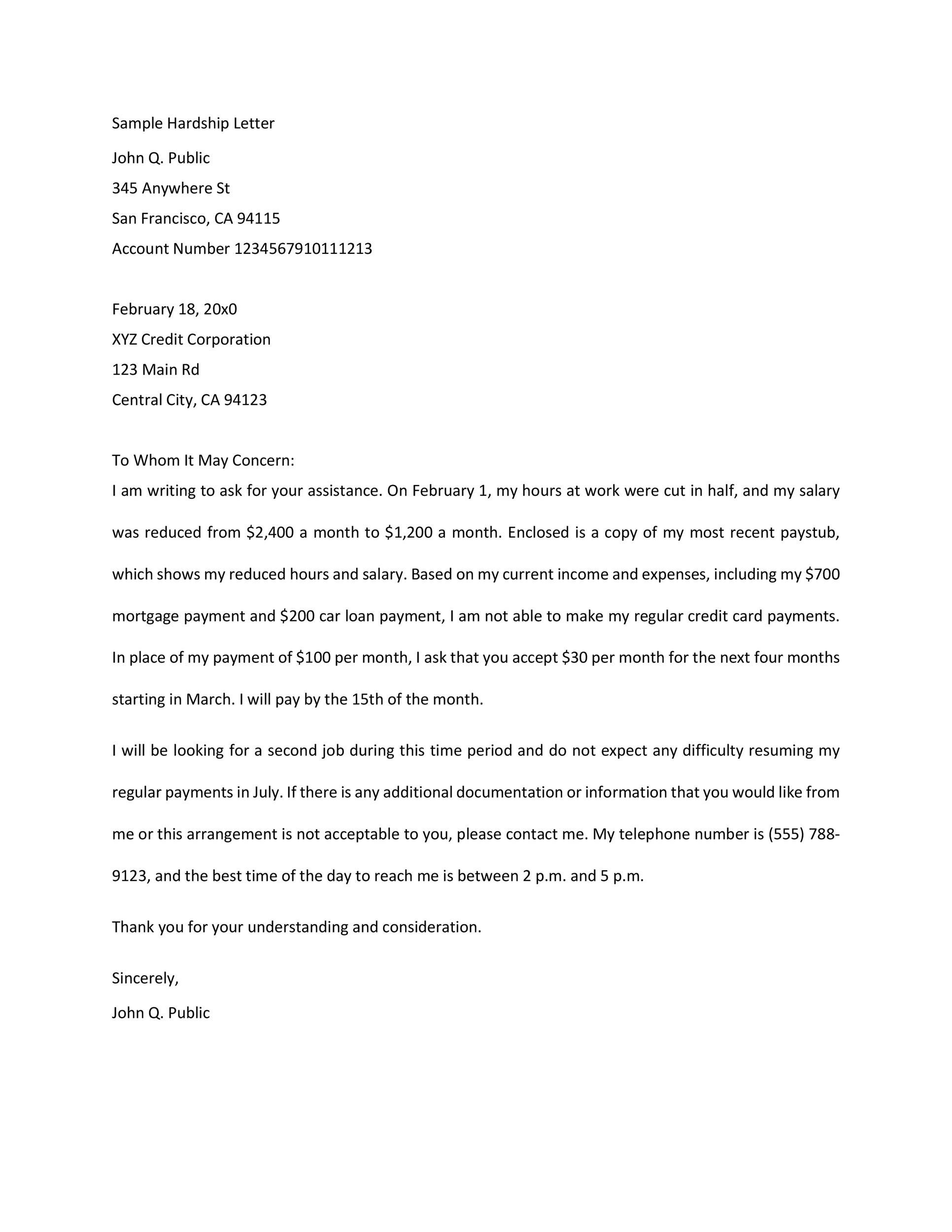 35 Simple Hardship Letters (Financial, for Mortgage, for Immigration) - hardship letter template