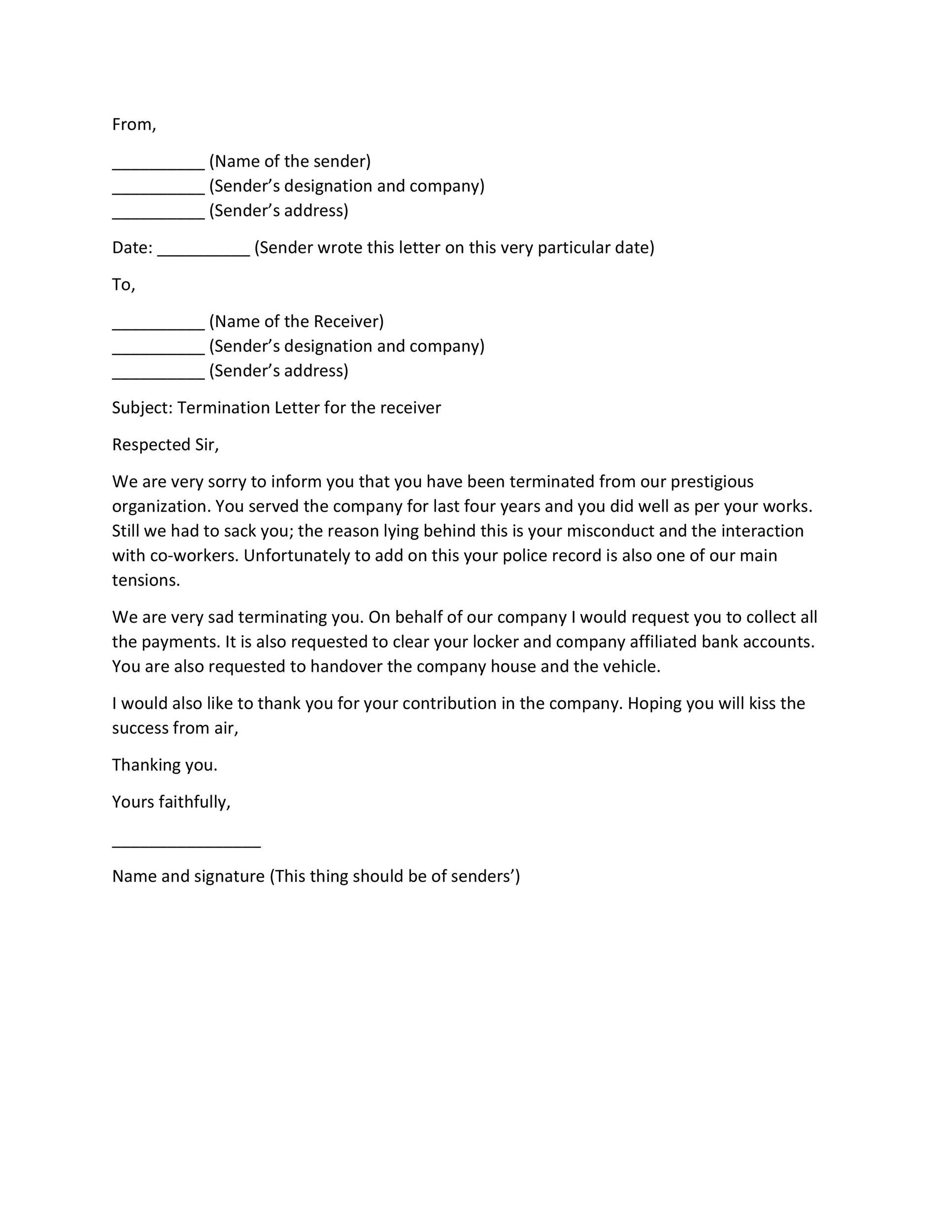35 Perfect Termination Letter Samples Lease, Employee, Contract - company termination letter