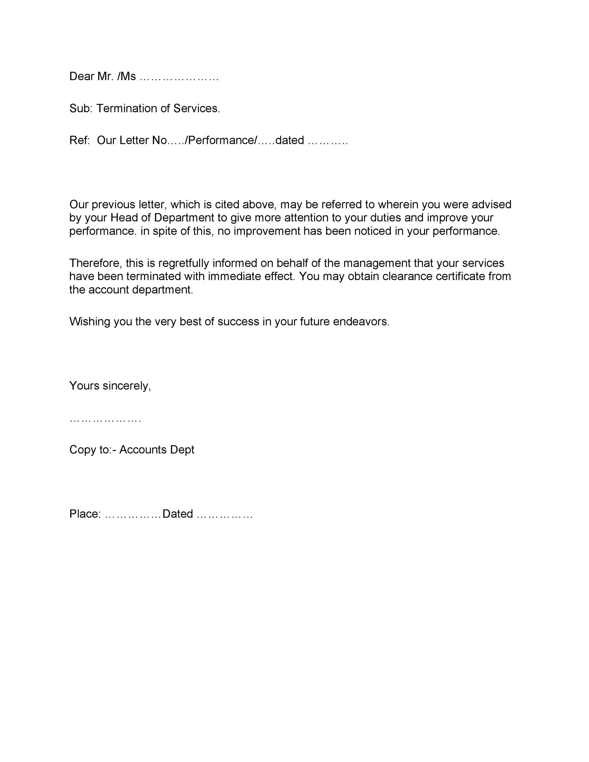 35 Perfect Termination Letter Samples Lease, Employee, Contract - Example Of A Termination Letter