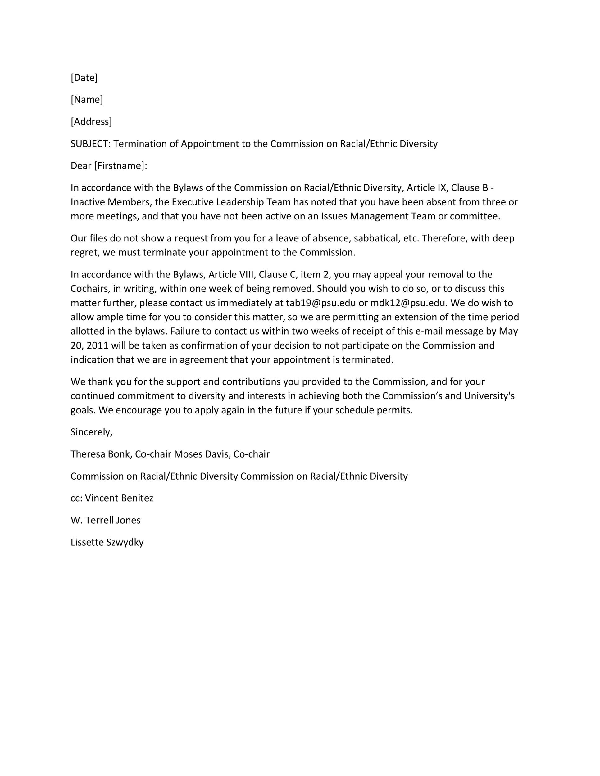 35 Perfect Termination Letter Samples Lease, Employee, Contract - termination letters