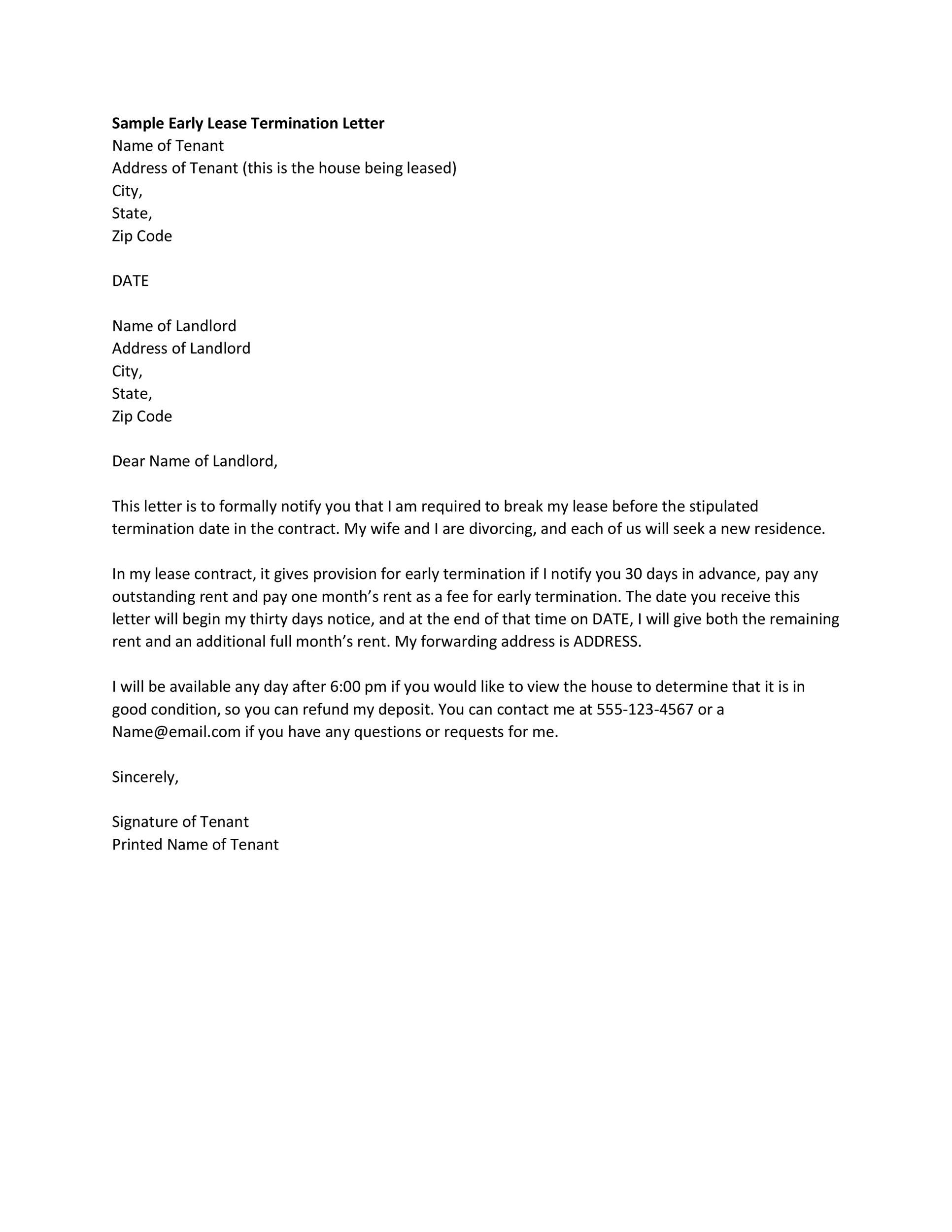 35 Perfect Termination Letter Samples Lease, Employee, Contract - termination notice template