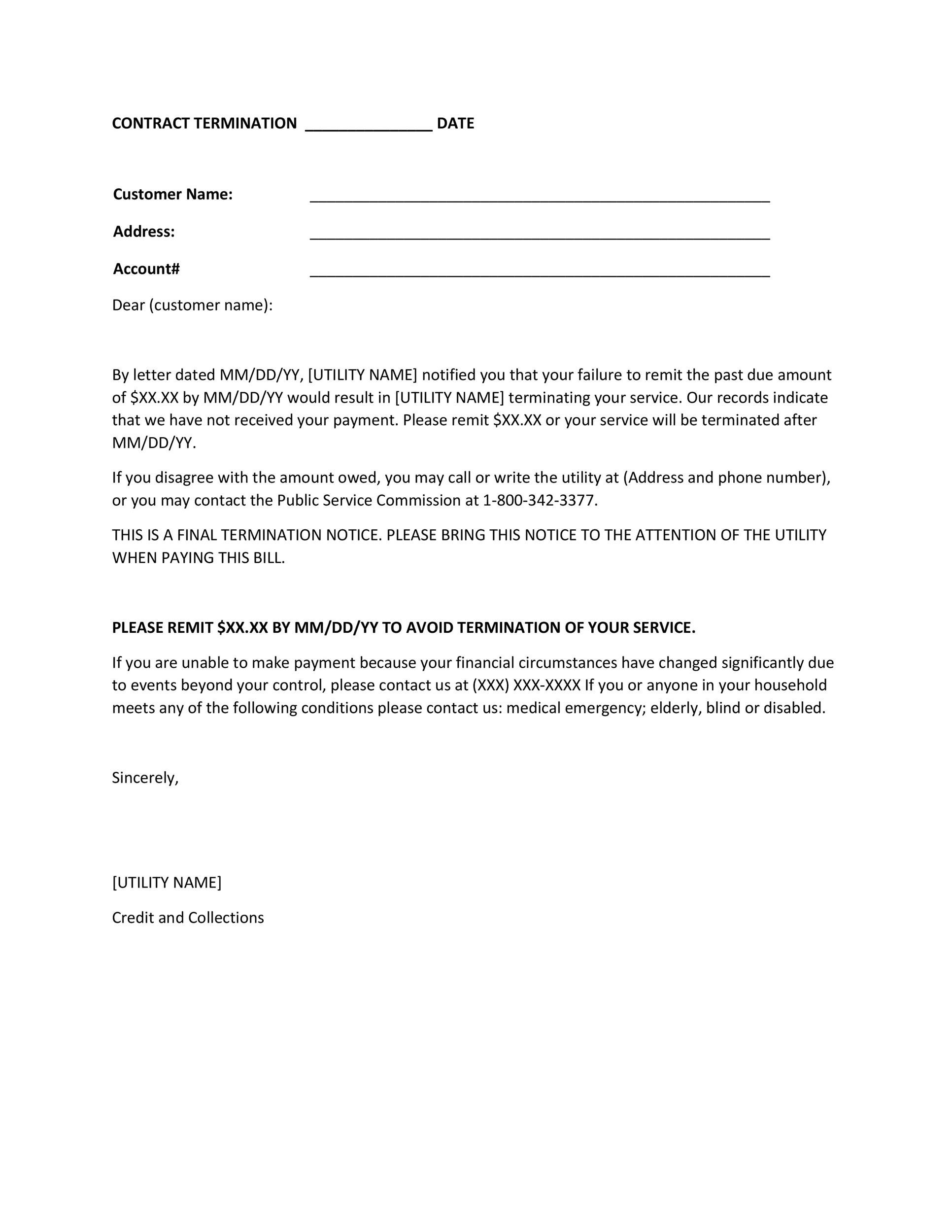 sample termination of contract letters