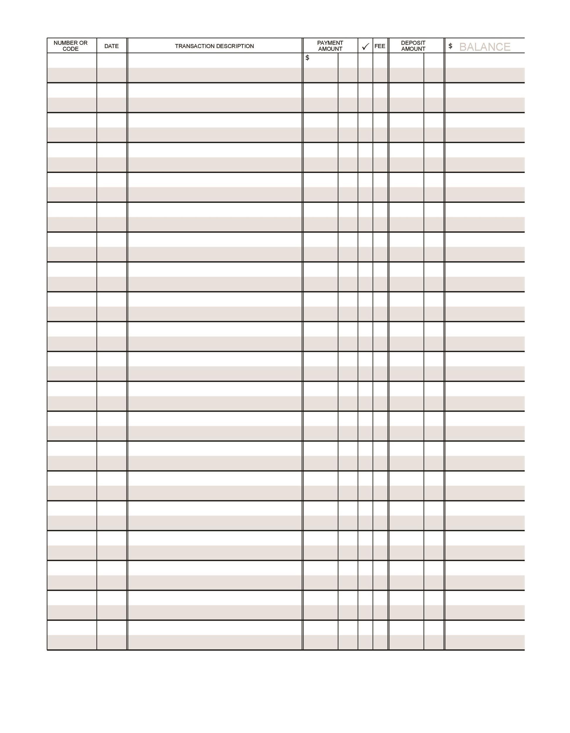 37 Checkbook Register Templates 100 Free, Printable ᐅ Template Lab