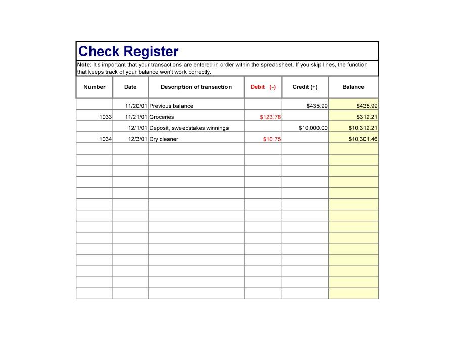 37 Checkbook Register Templates 100 Free, Printable - Template Lab - printable check register