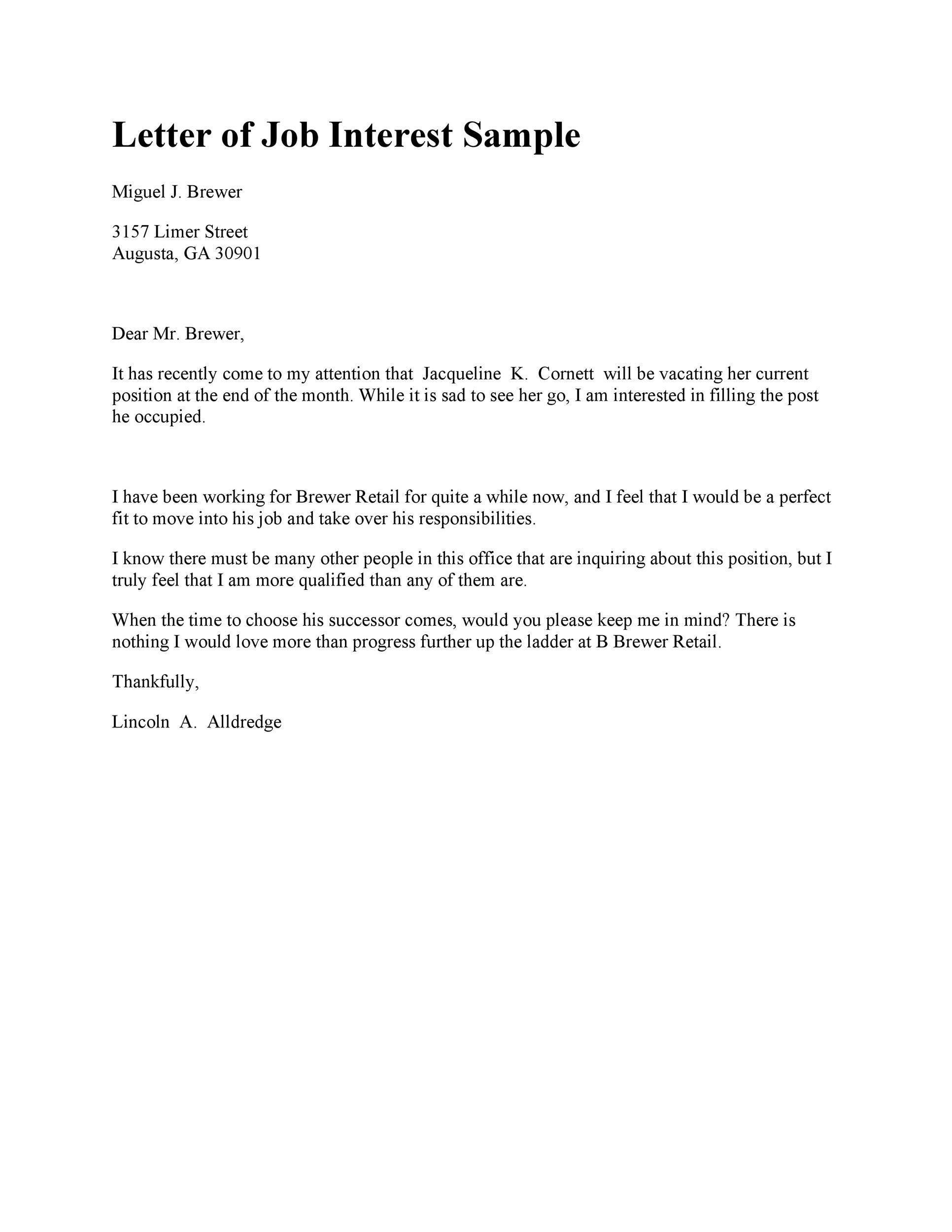 How To Write A Letter For Proof Of Employment With Sample 30 Amazing Letter Of Interest Samples And Templates