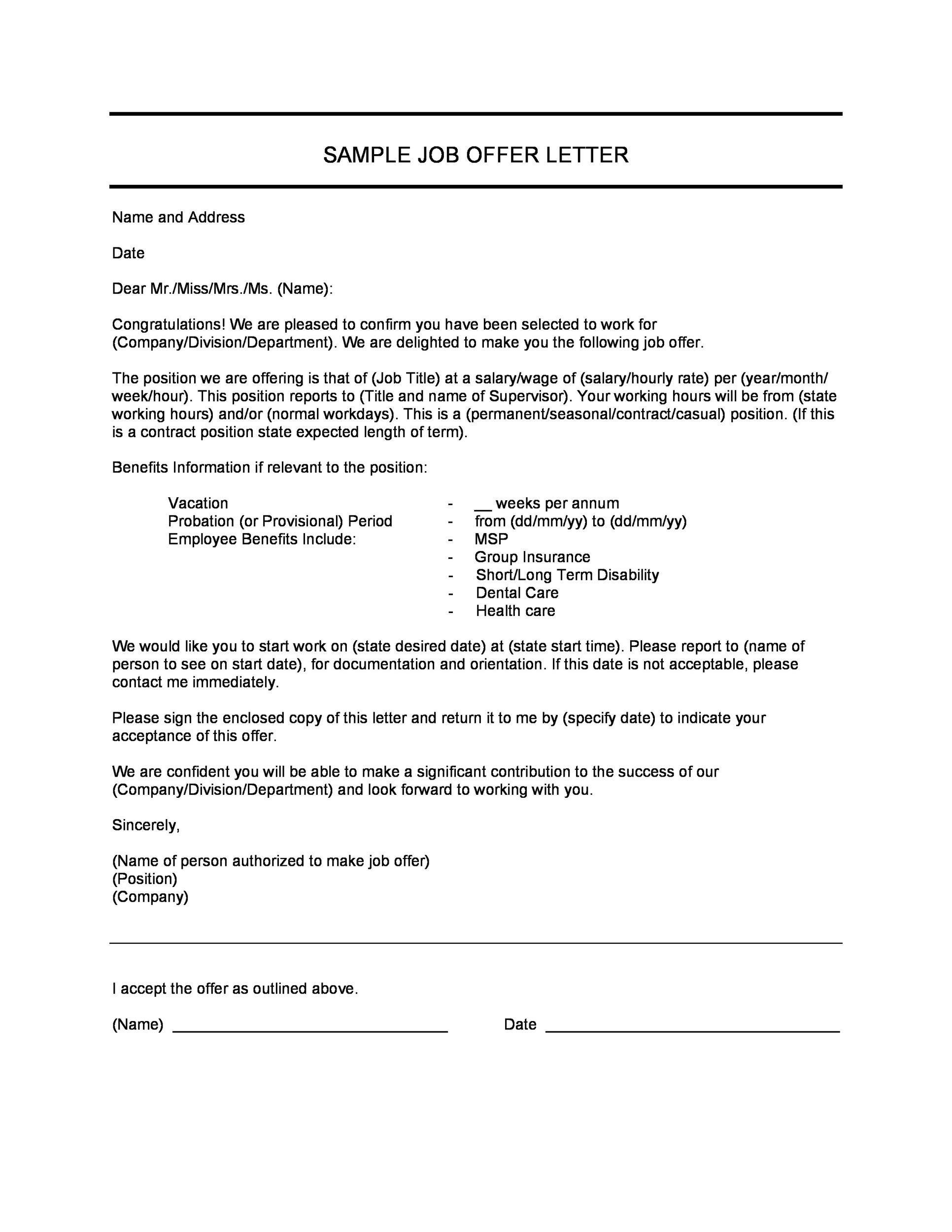 Sample Job Offer Letter Probationary Period Best Resumes