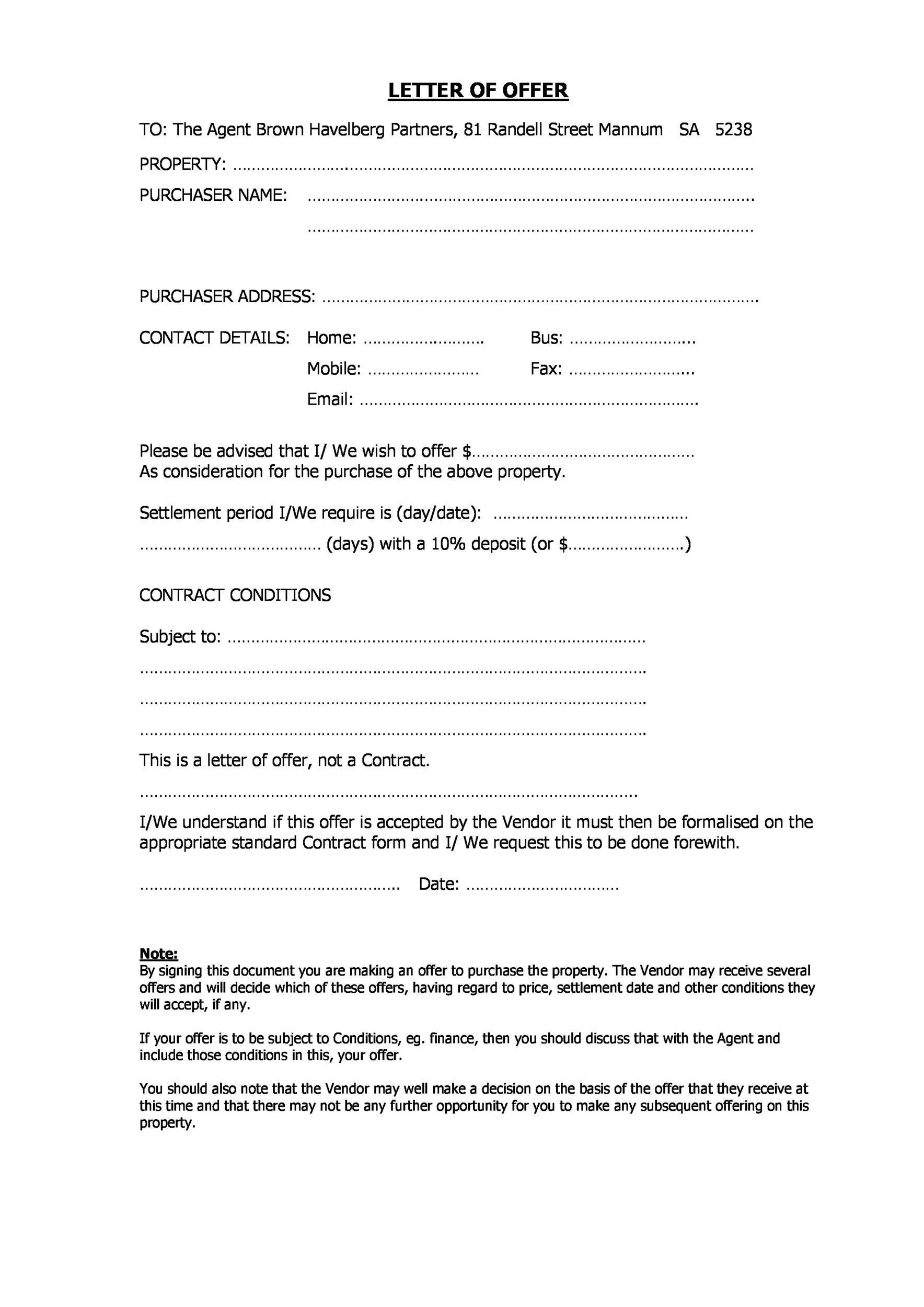 job offer counter offer letter
