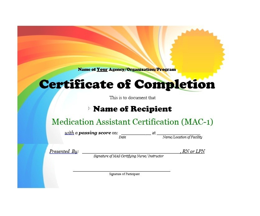 40 Fantastic Certificate of Completion Templates Word, PowerPoint - Certification Document Template