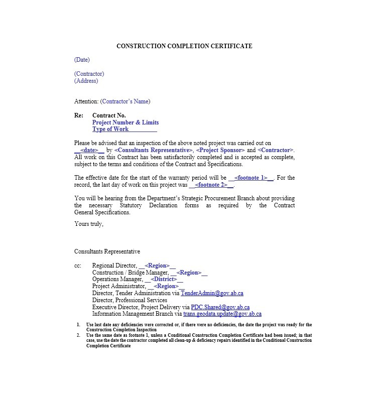 architect s letter of substantial completion docoments certificate - Project Completion Certificate Format