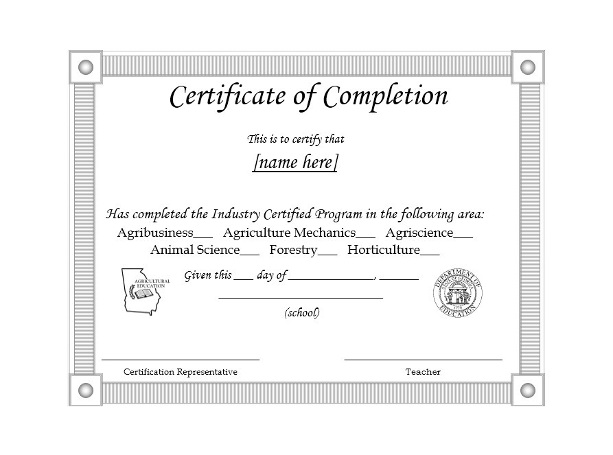 40 Fantastic Certificate of Completion Templates Word, PowerPoint - sample school certificate