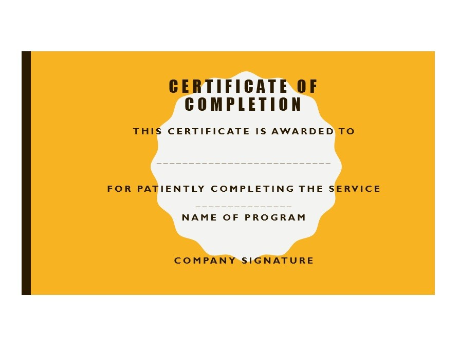 40 Fantastic Certificate of Completion Templates Word, PowerPoint - Certificate Of Service Template