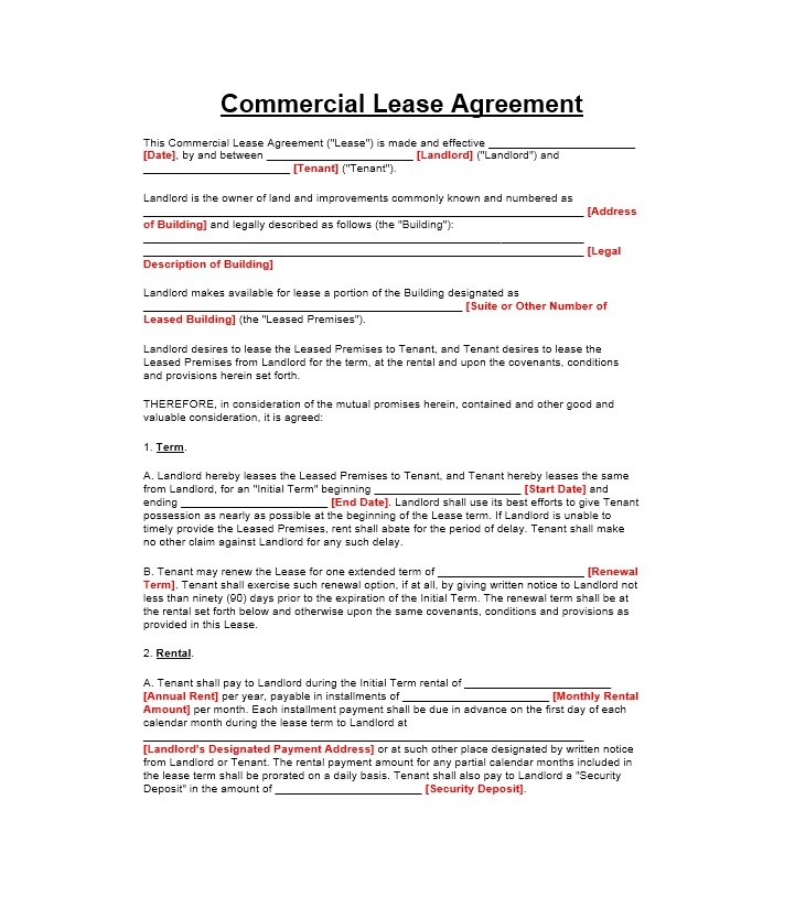26 Free Commercial Lease Agreement Templates ᐅ Template Lab