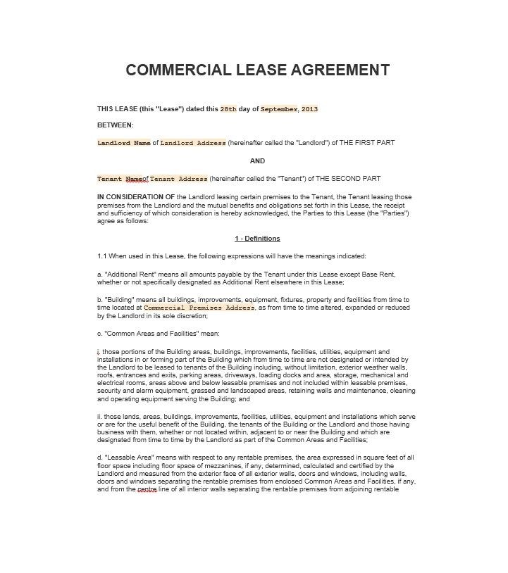 26 Free Commercial Lease Agreement Templates - Template Lab - property lease agreement template