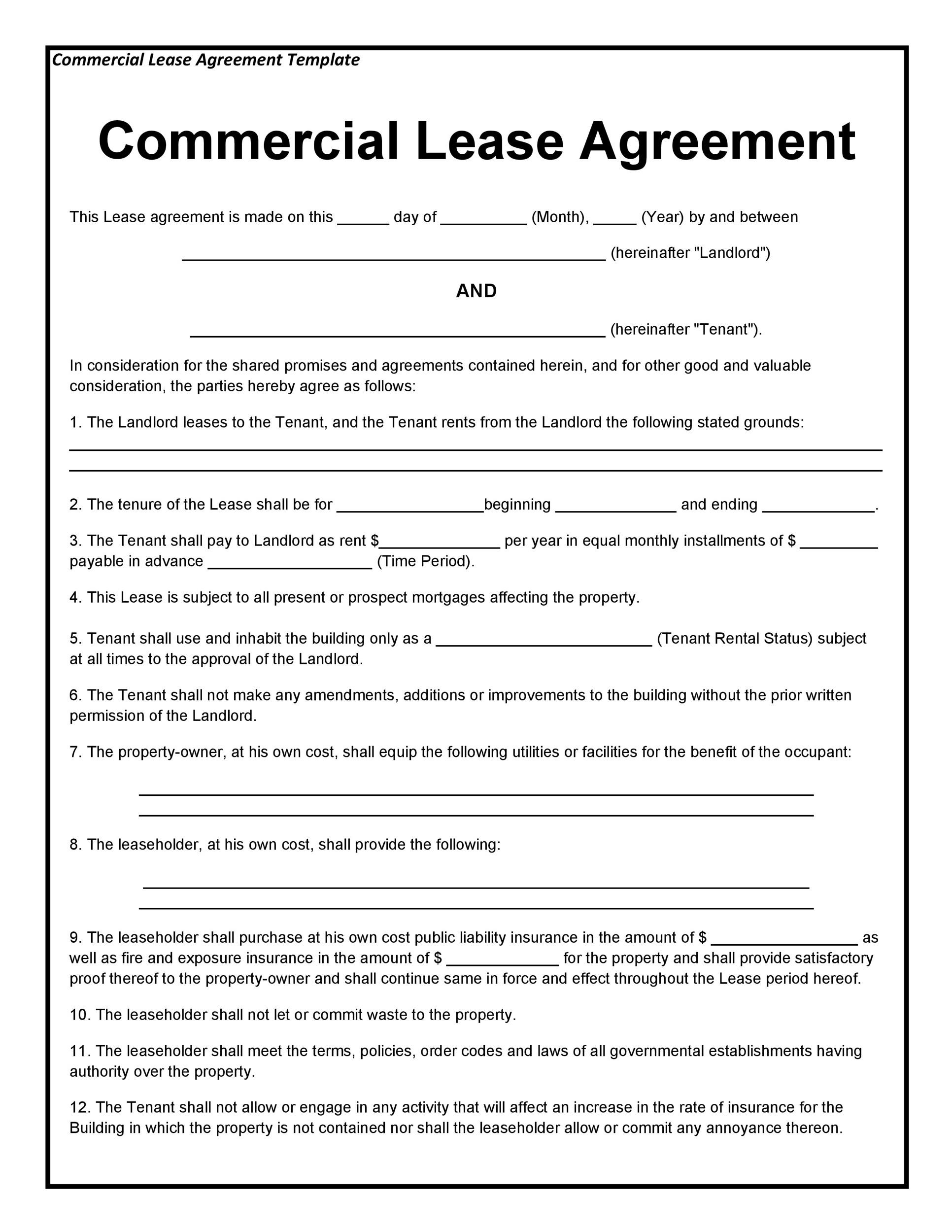 26 Free Commercial Lease Agreement Templates - Template Lab - commercial rent agreement format