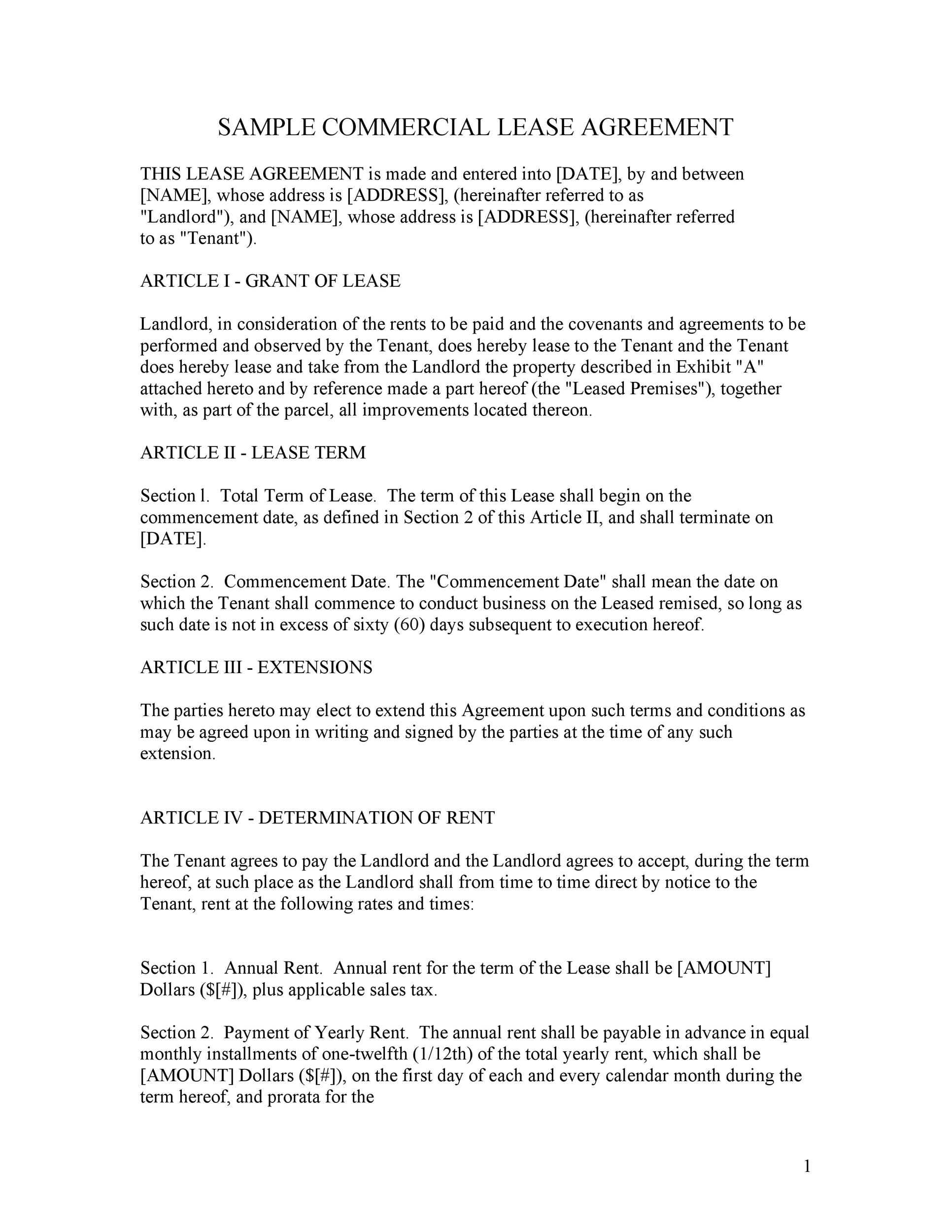 26 Free Commercial Lease Agreement Templates - Template Lab - Yearly Contract Template