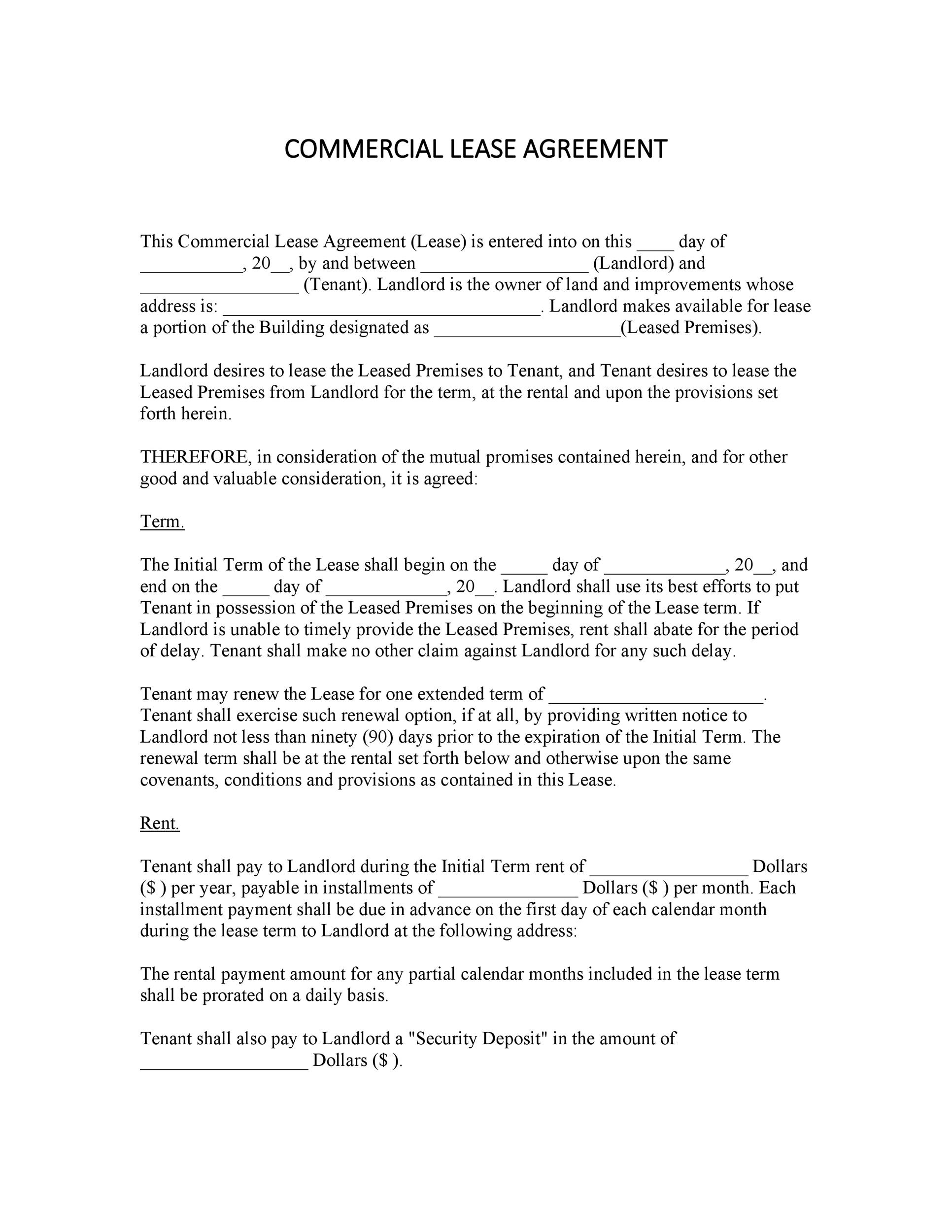 26 Free Commercial Lease Agreement Templates - Template Lab - ten terms to include in your lease