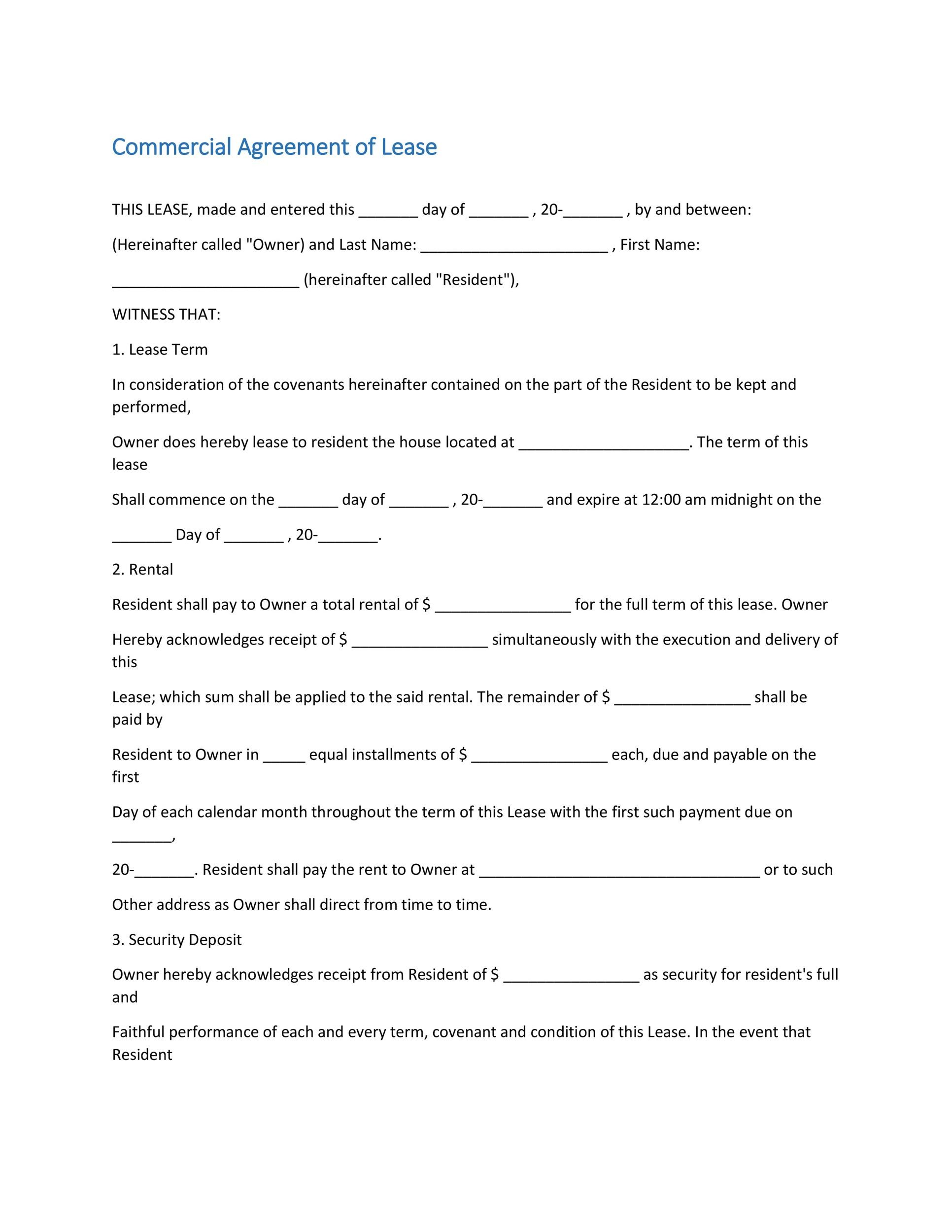 26 Free Commercial Lease Agreement Templates - Template Lab - rental agreement