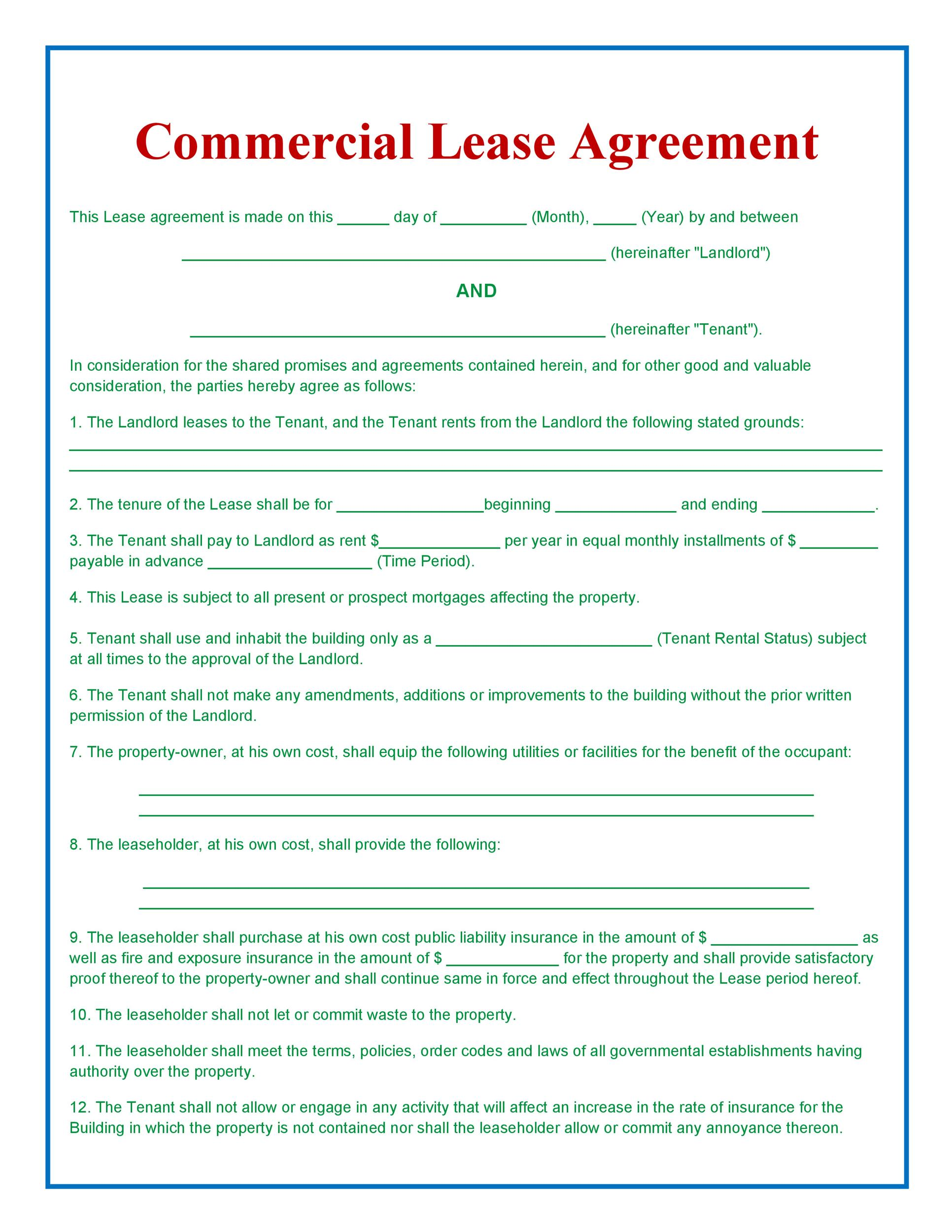 26 Free Commercial Lease Agreement Templates - Template Lab - what is a lease between landlord and tenant